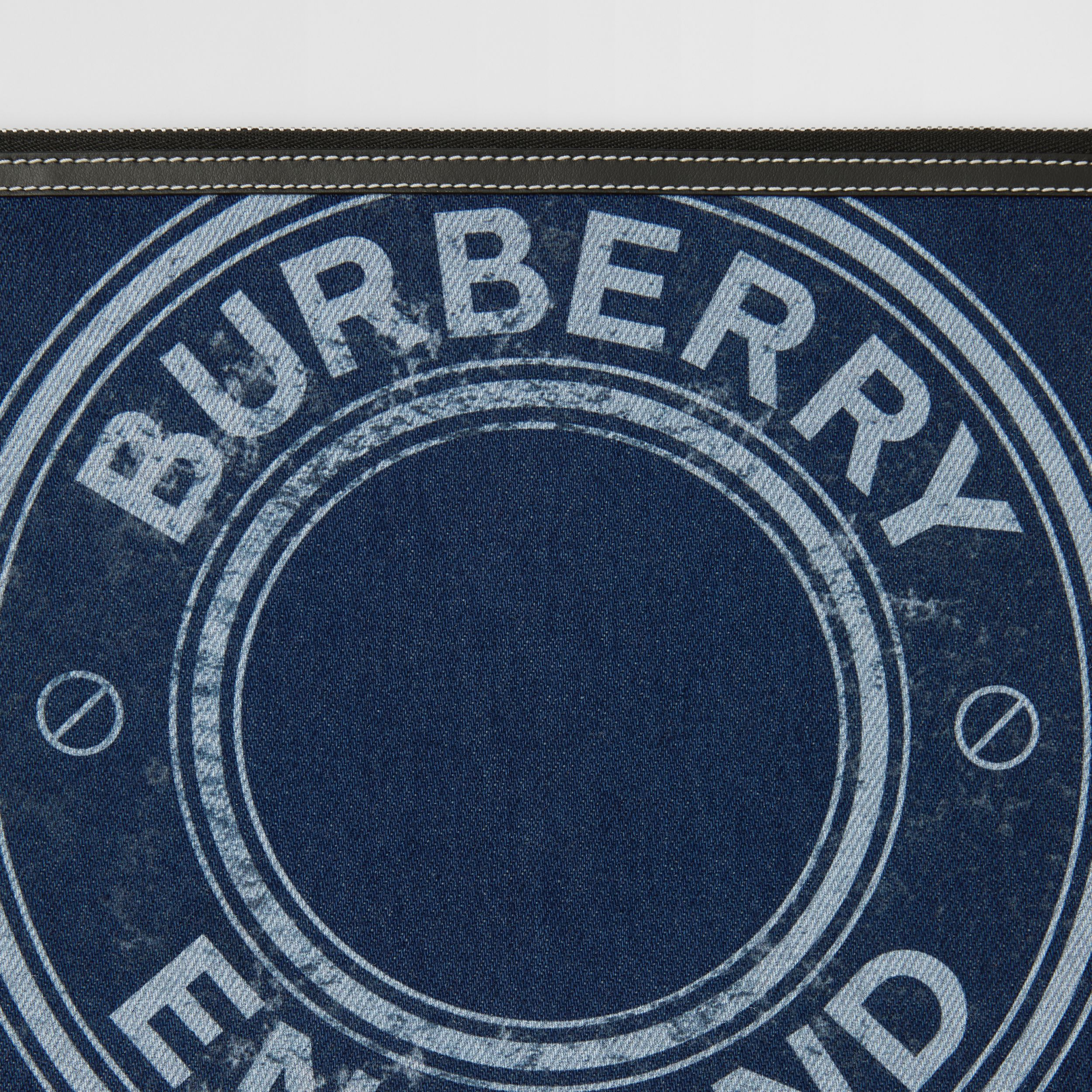 Logo Graphic Denim Zip Pouch in Dark Canvas Blue - Women | Burberry - 2