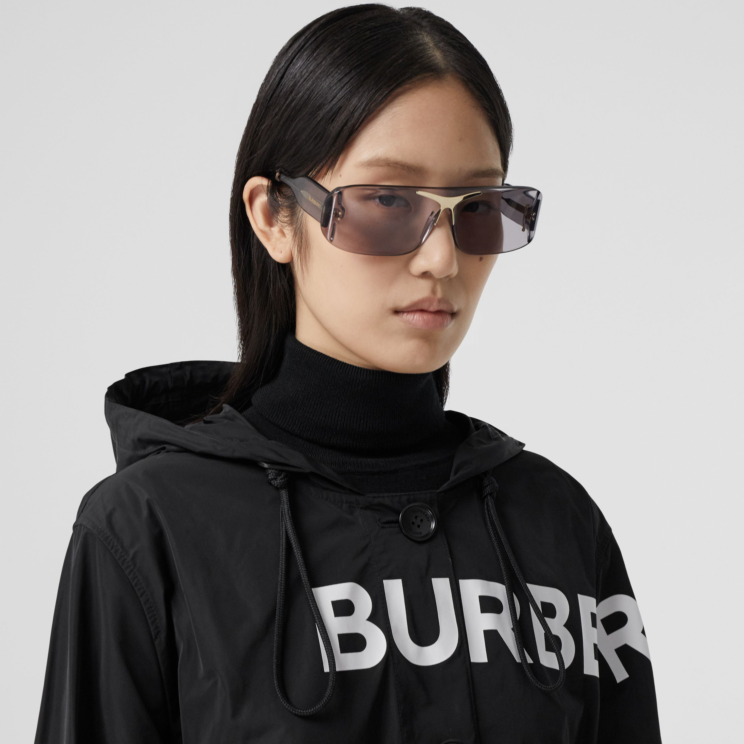 Horseferry Print Nylon Parka in Black - Women | Burberry - 2