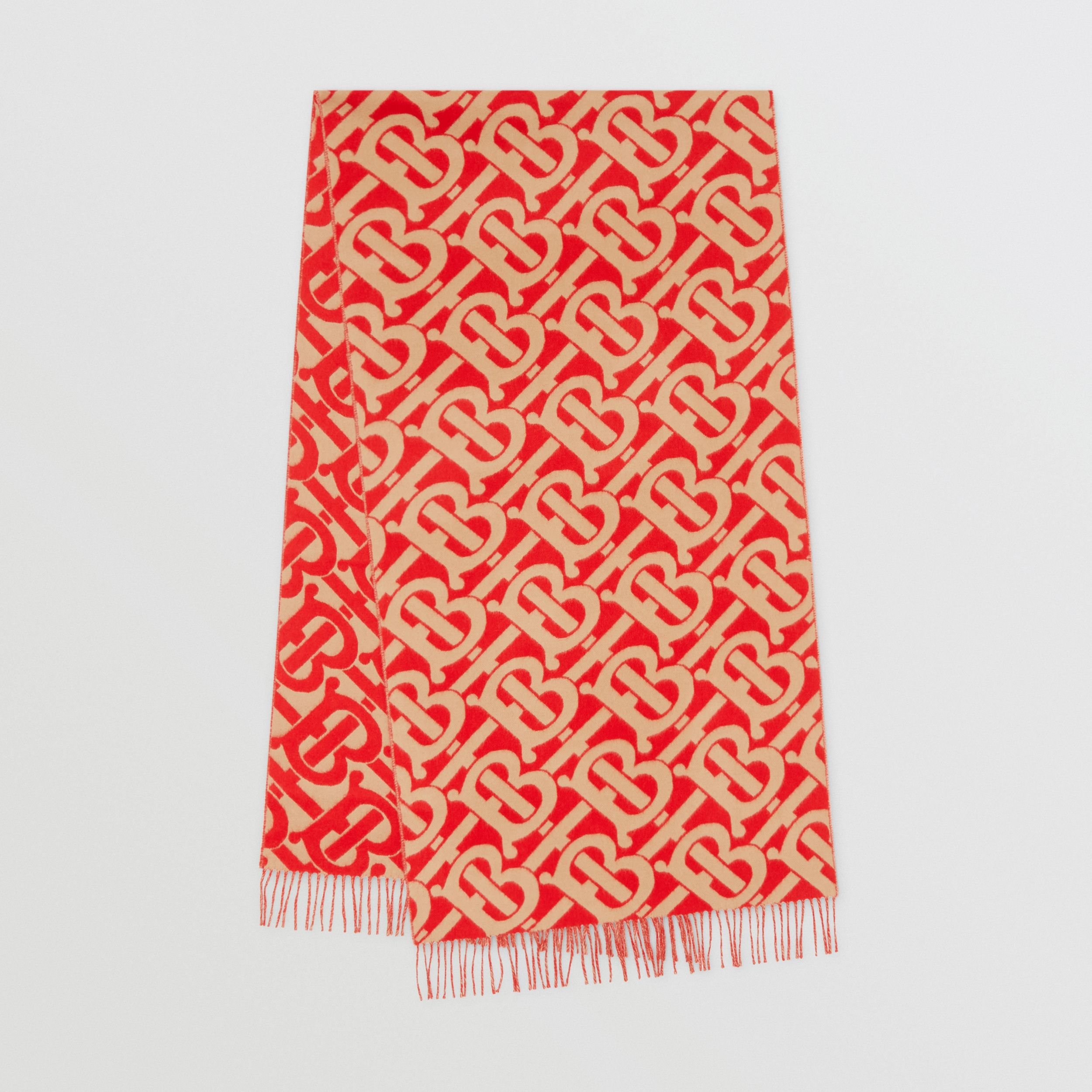 Monogram Cashmere Jacquard Scarf in Bright Red/camel | Burberry - 1