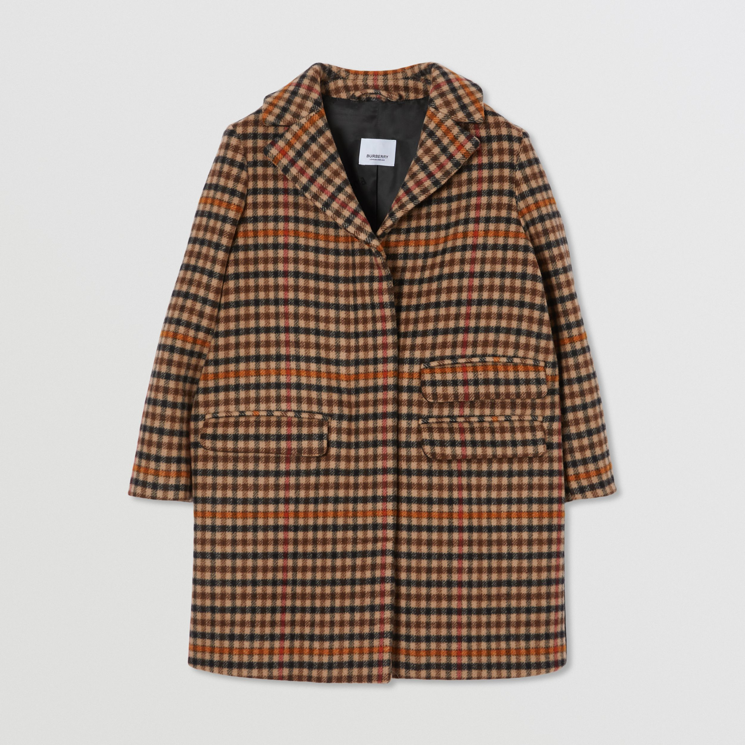 Embroidered Monogram Motif Check Wool Tailored Coat in Camel | Burberry - 1