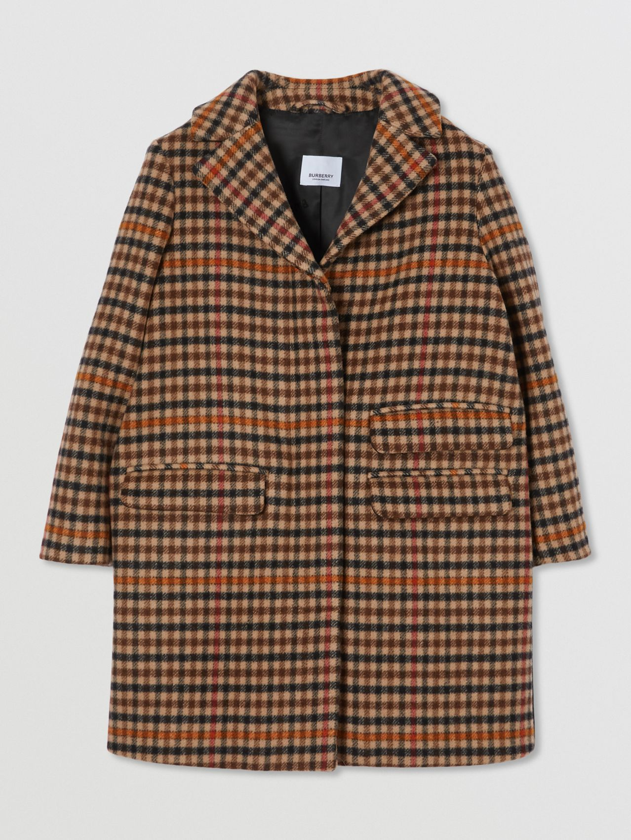 Embroidered Monogram Motif Check Wool Tailored Coat in Camel