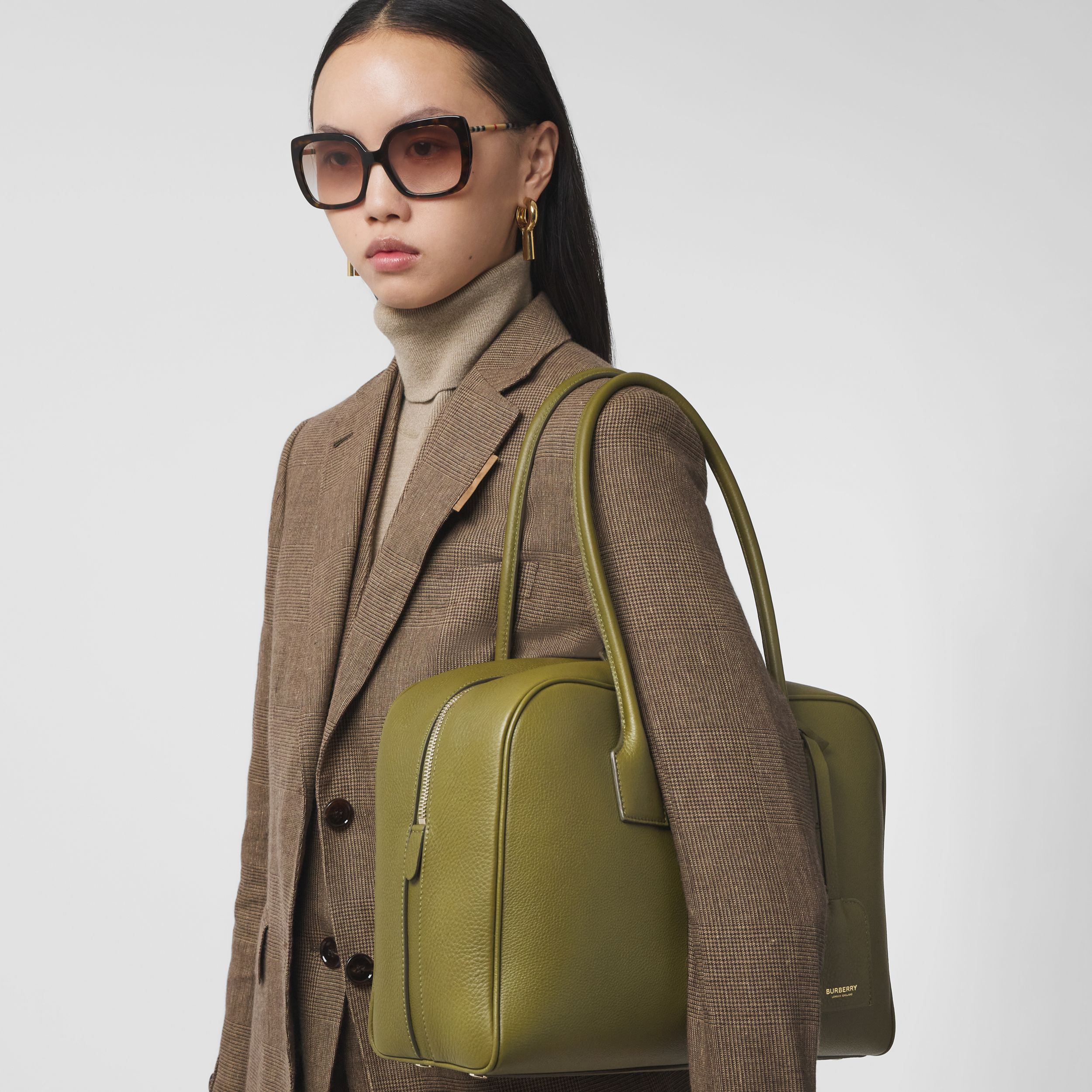 Large Leather Half Cube Bag in Juniper Green - Women | Burberry Hong Kong S.A.R. - 3