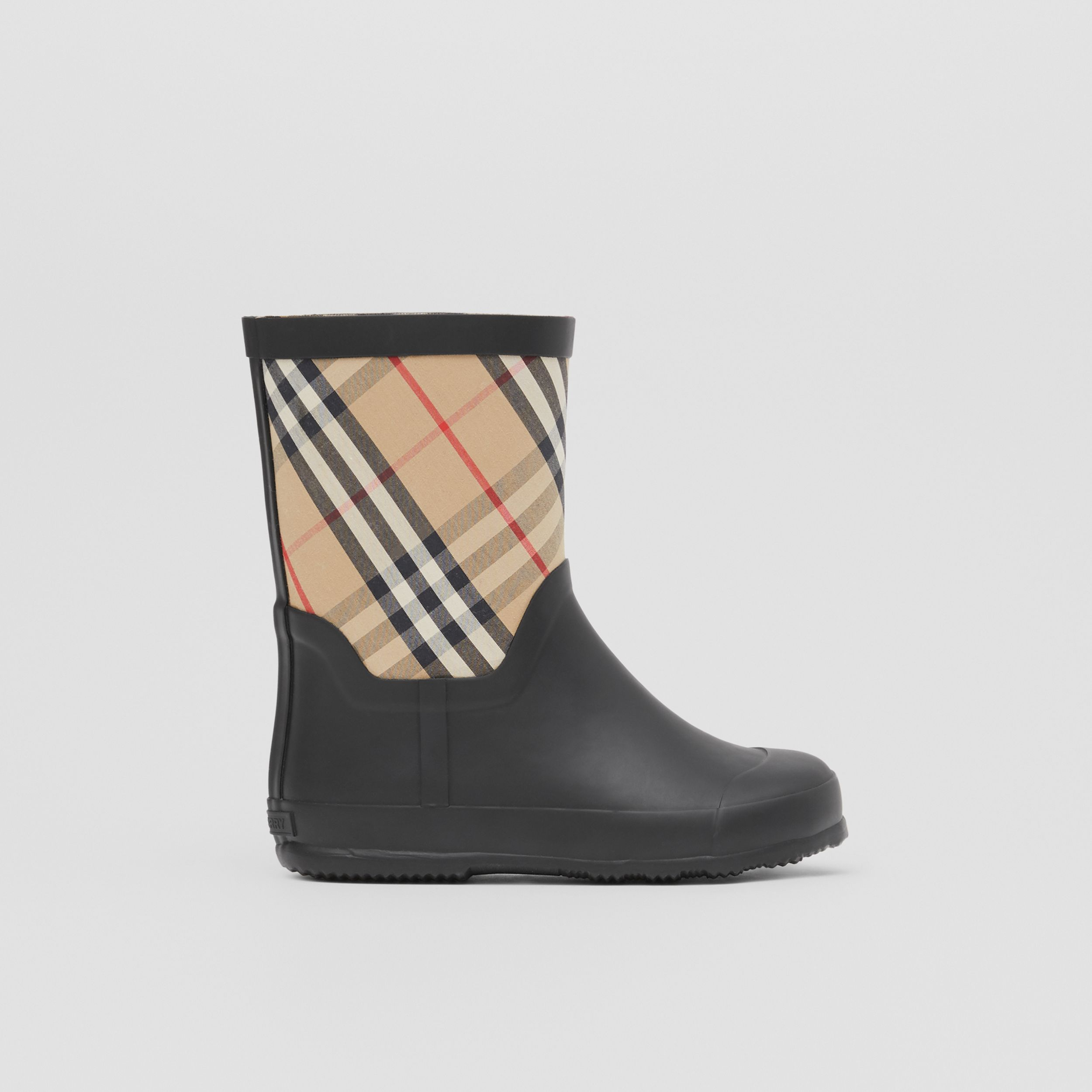 House Check Rubber Rain Boots in Archive Beige - Children | Burberry - 4