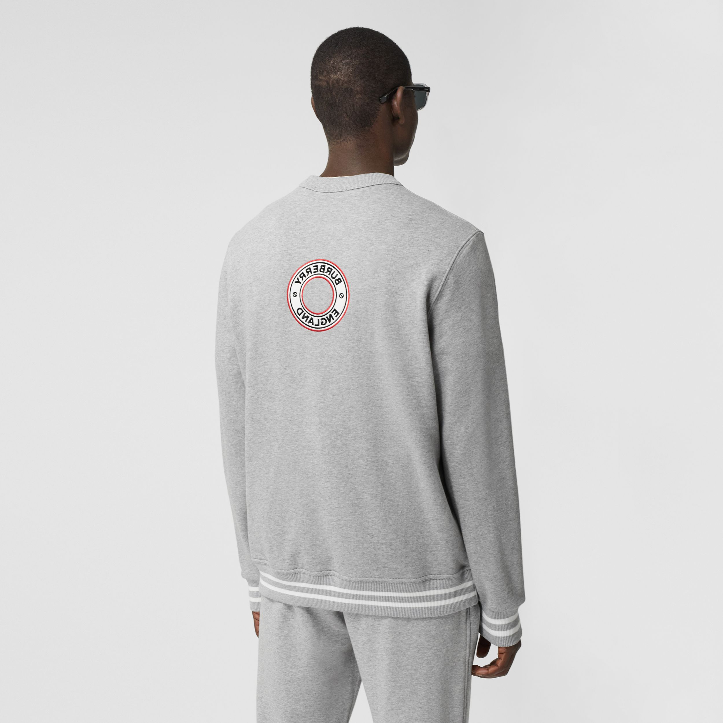 Logo Graphic Appliqué Cotton Sweatshirt in Pale Grey Melange - Men | Burberry - 3