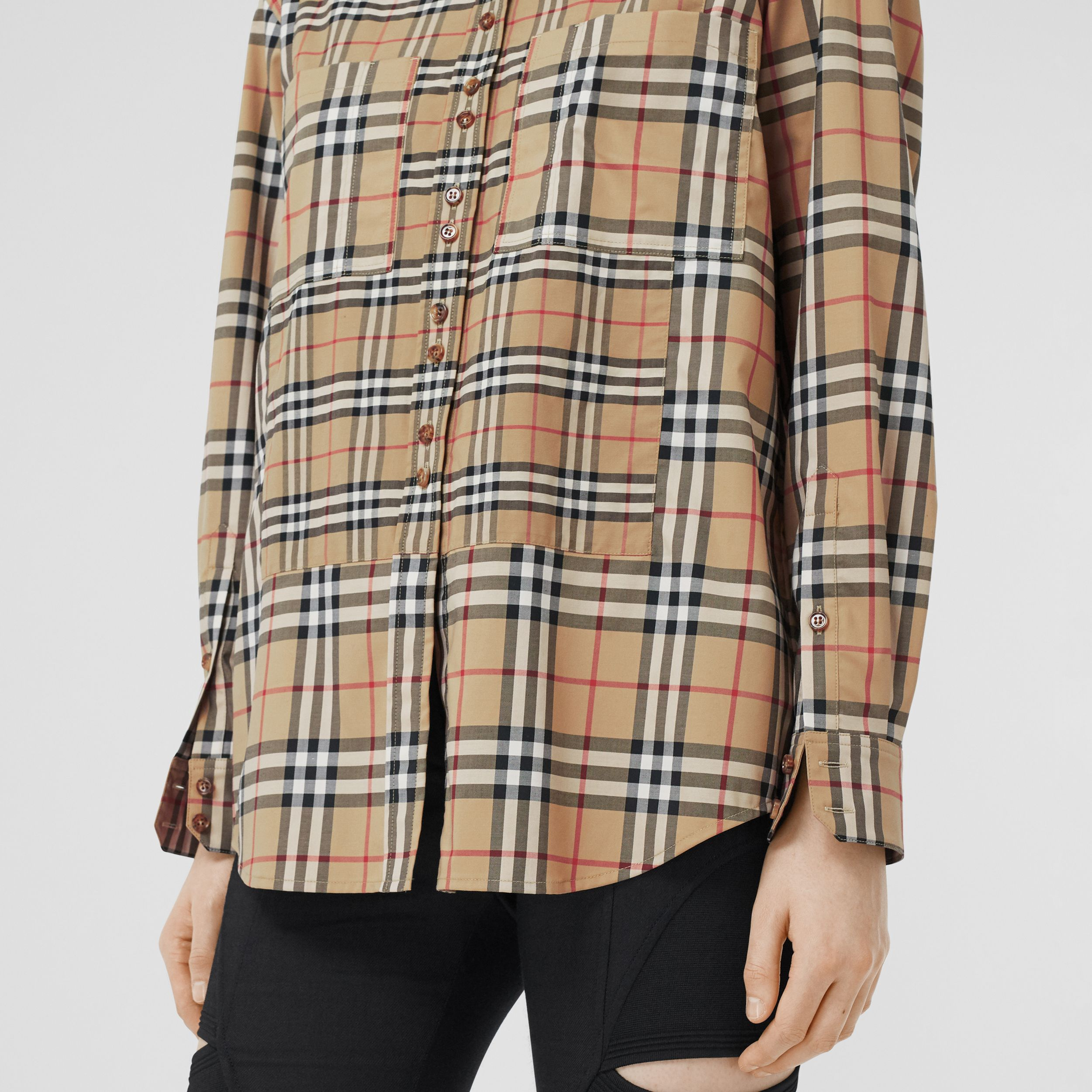 Contrast Check Stretch Cotton Shirt in Archive Beige - Women | Burberry - 2