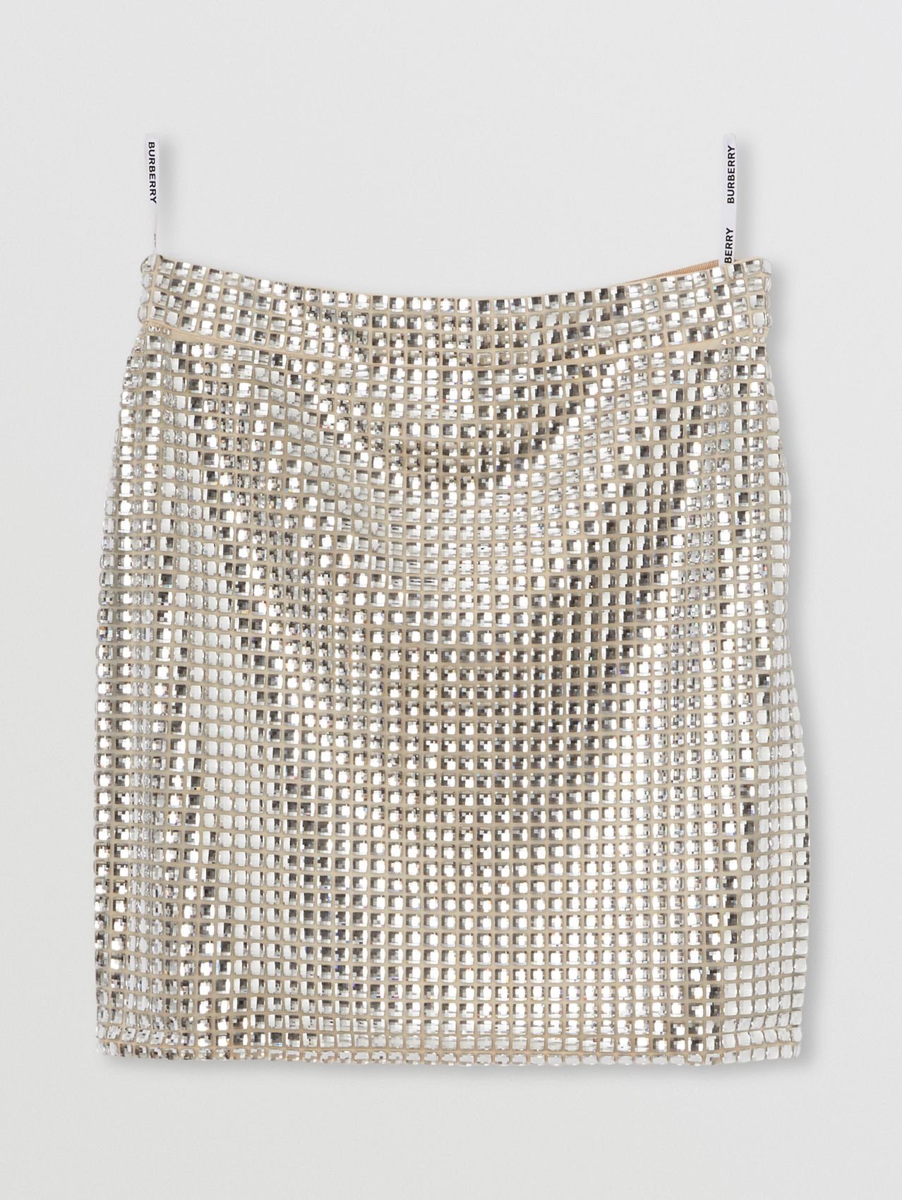 Crystal Embellished Mini Skirt in Pale Biscuit