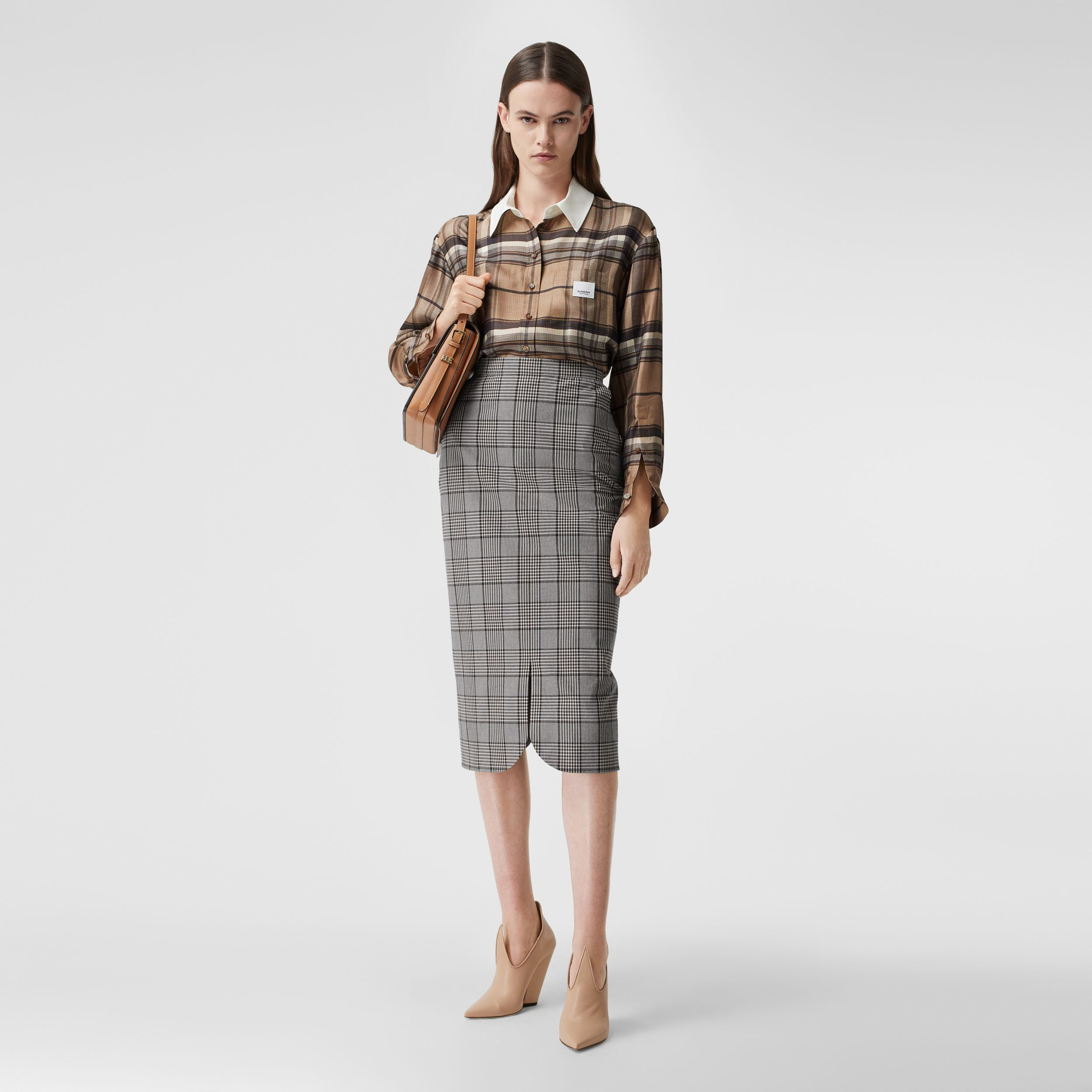 Logo Appliqué Check Print Silk Twill Shirt in Dark Tan - Women | Burberry - 1