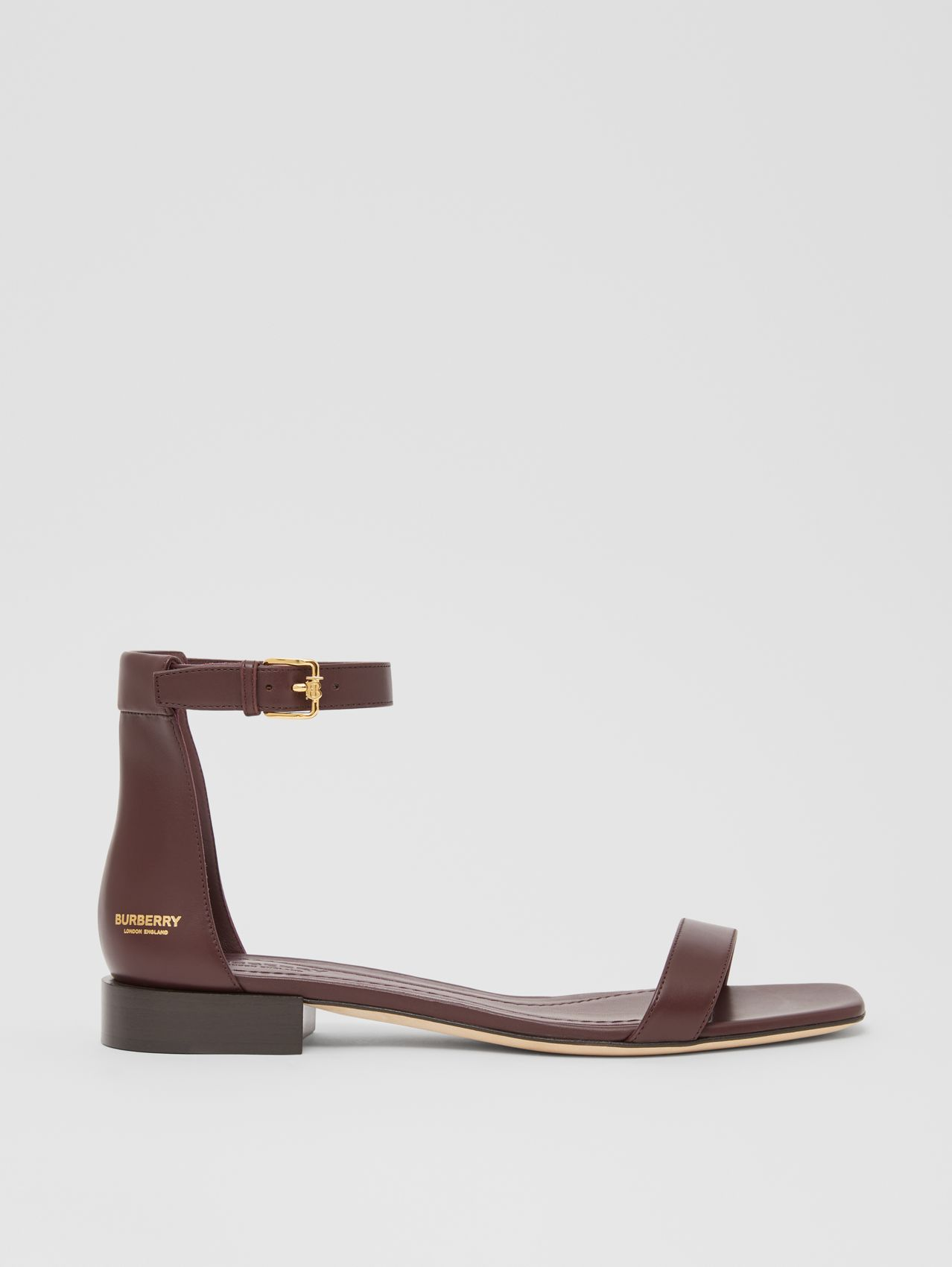 Logo Embossed Leather Sandals in Oxblood