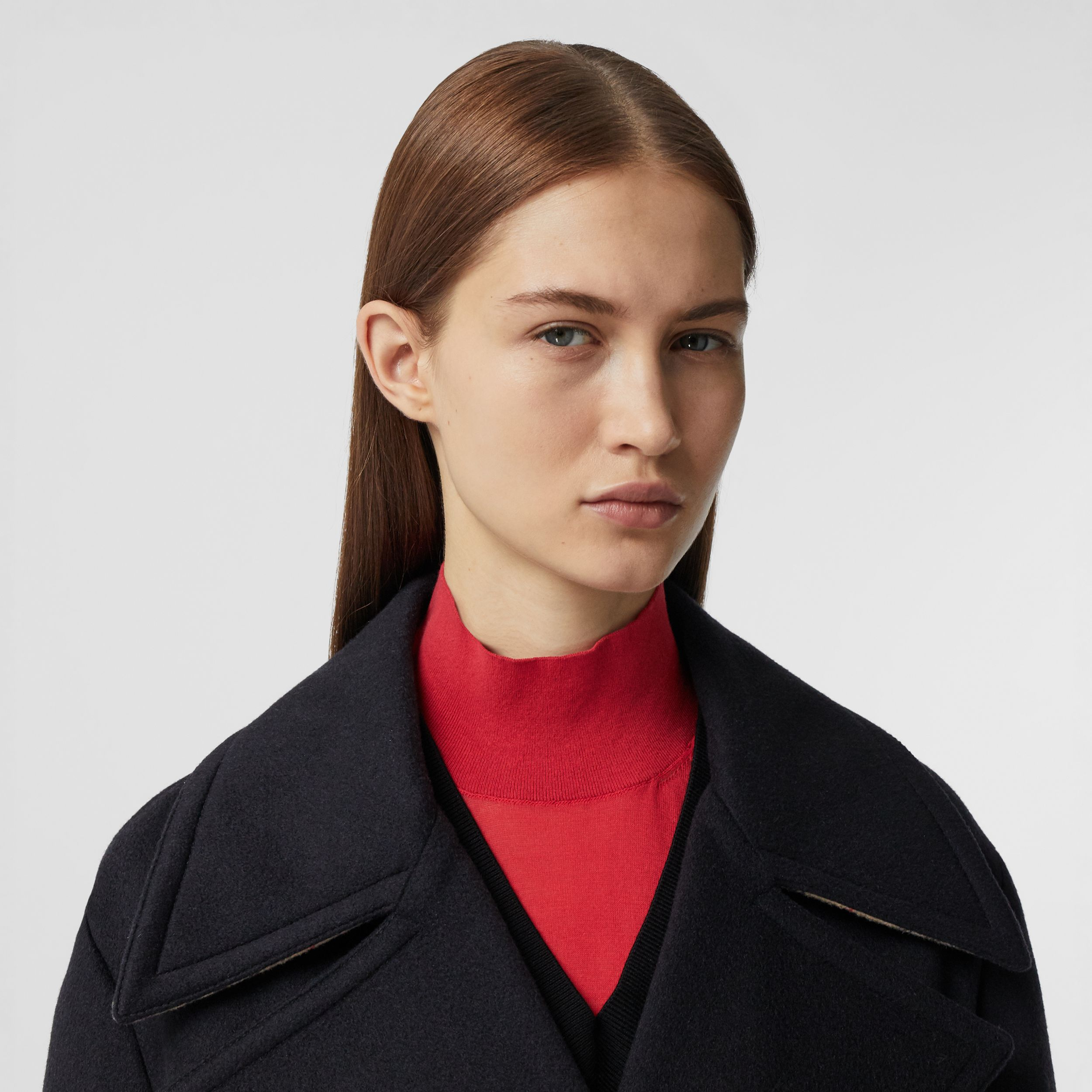 Pocket Detail Cashmere Pea Coat in Navy - Women | Burberry - 2