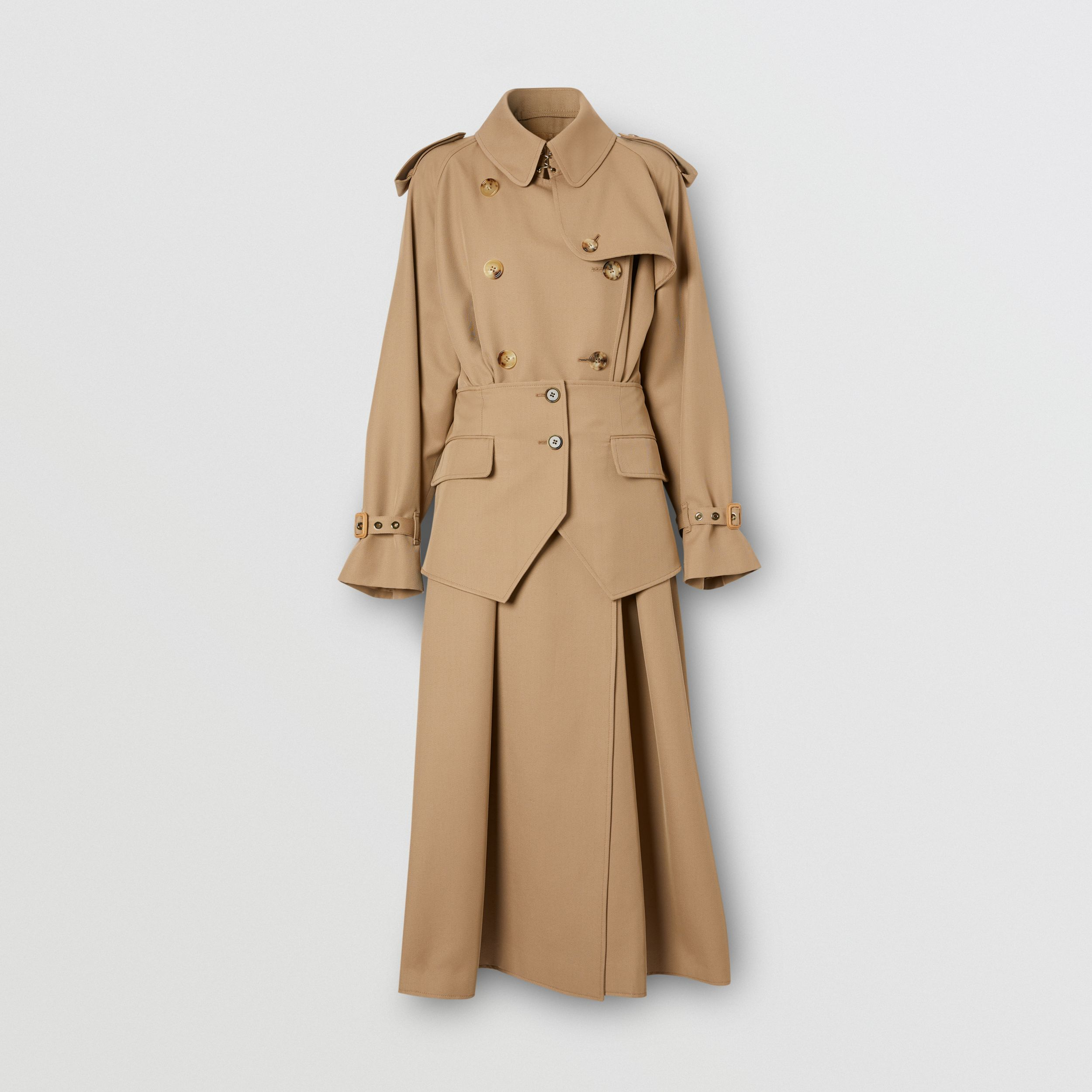 Basque Detail Technical Wool Gabardine Trench Coat in Wheat - Women | Burberry - 4
