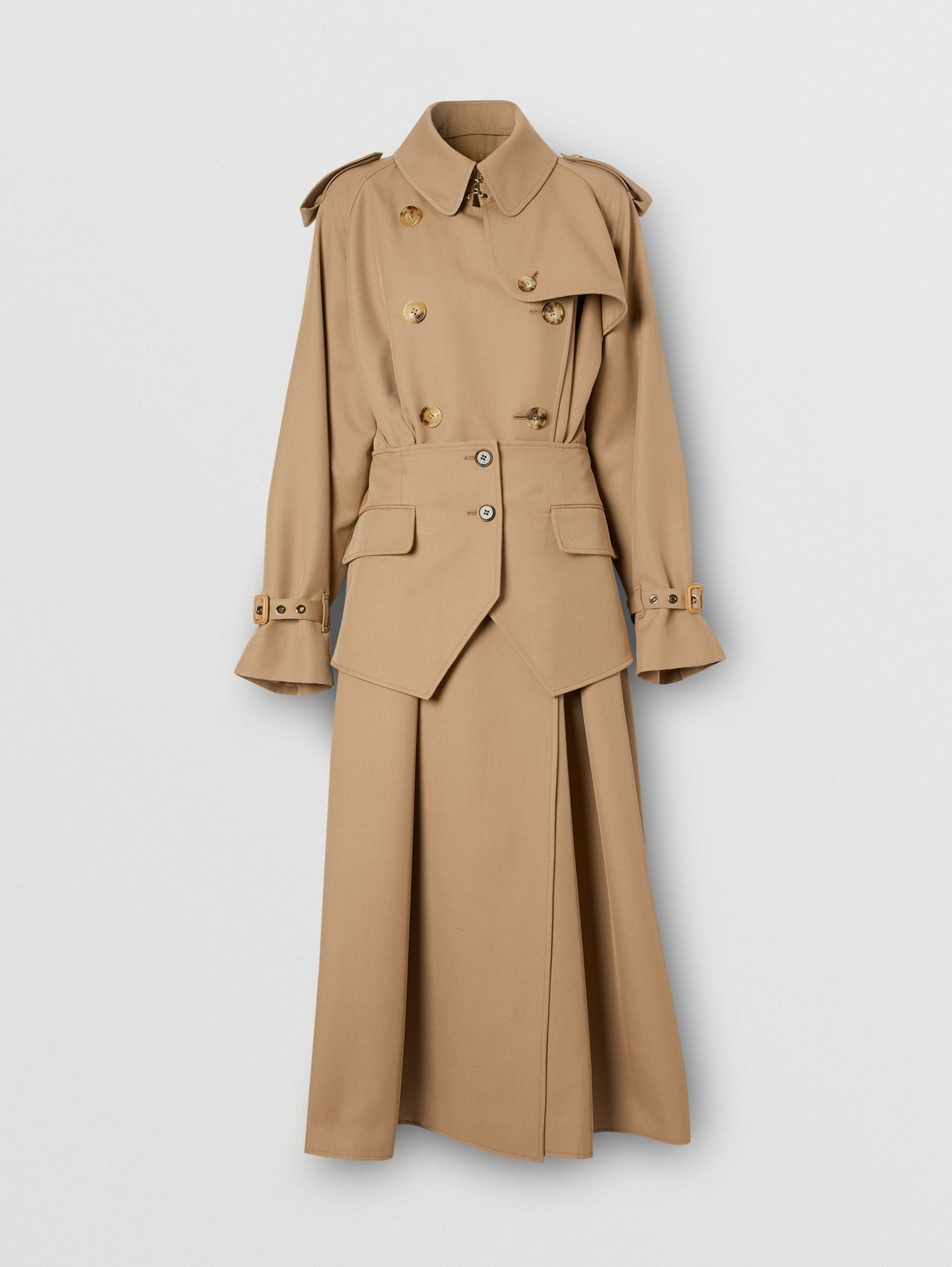 Basque Detail Technical Wool Gabardine Trench Coat in Wheat