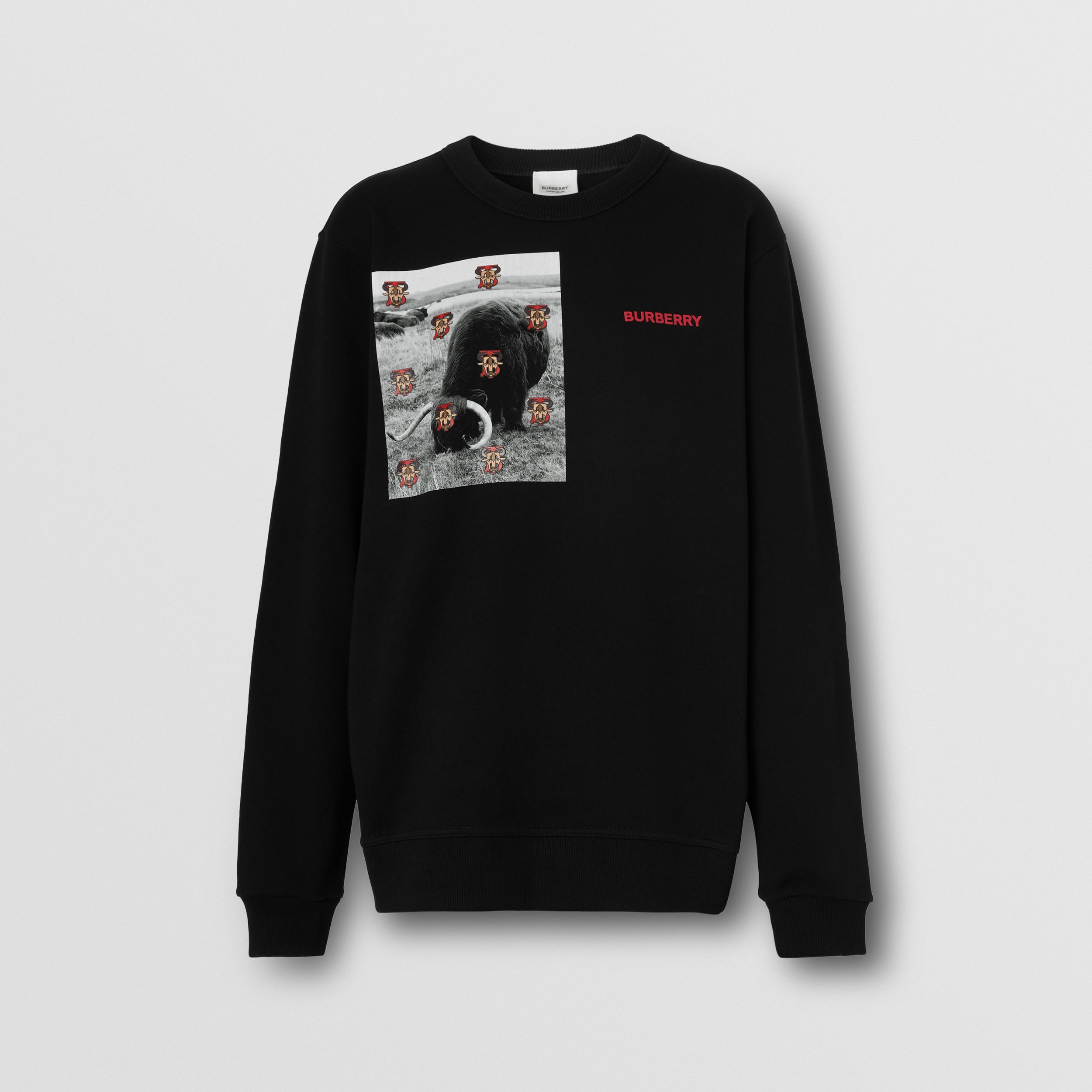 Montage Print Cotton Sweatshirt – Unisex in Black | Burberry Australia - 1