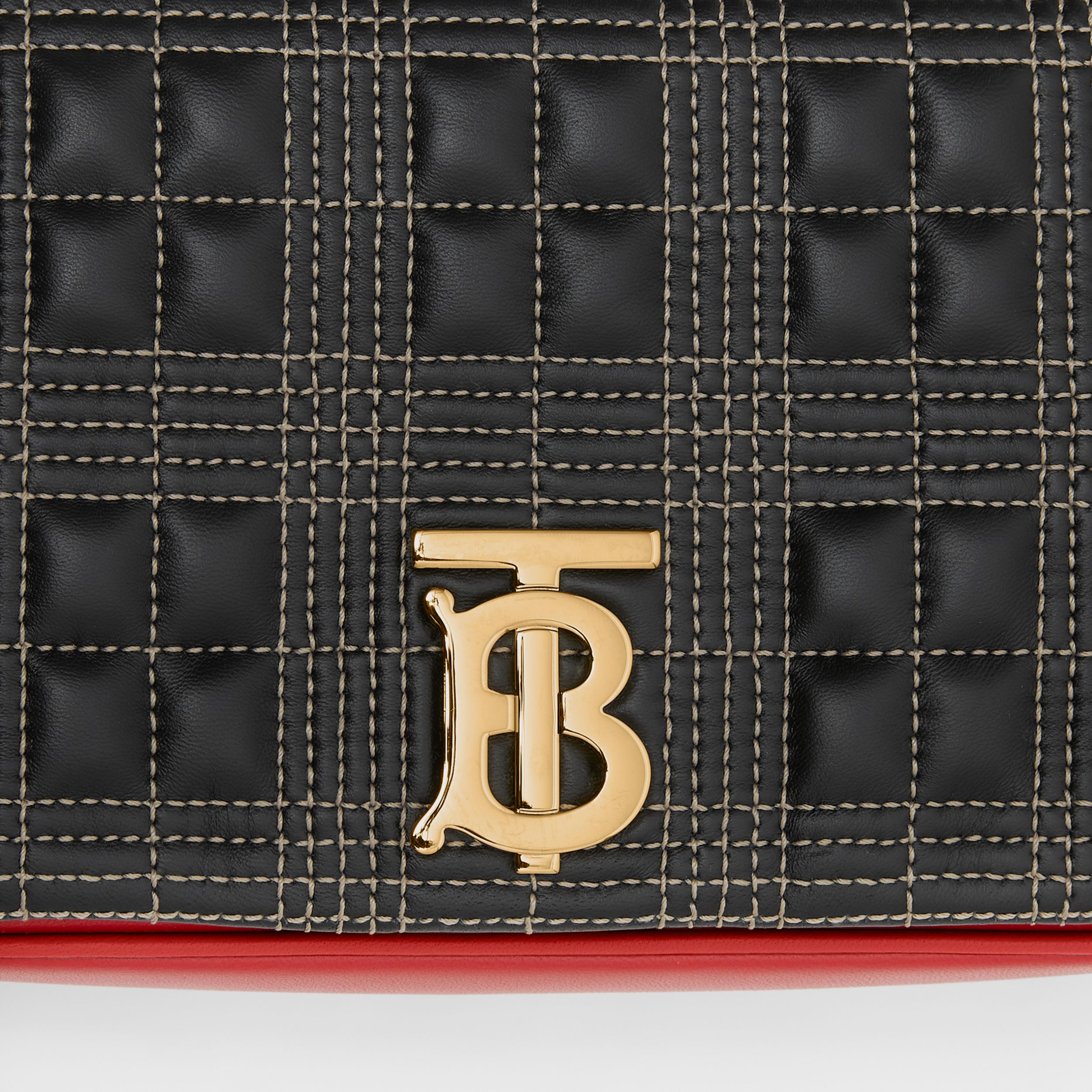 Small Quilted Tri-tone Lambskin Lola Bag in Black/bright Red - Women | Burberry - 2