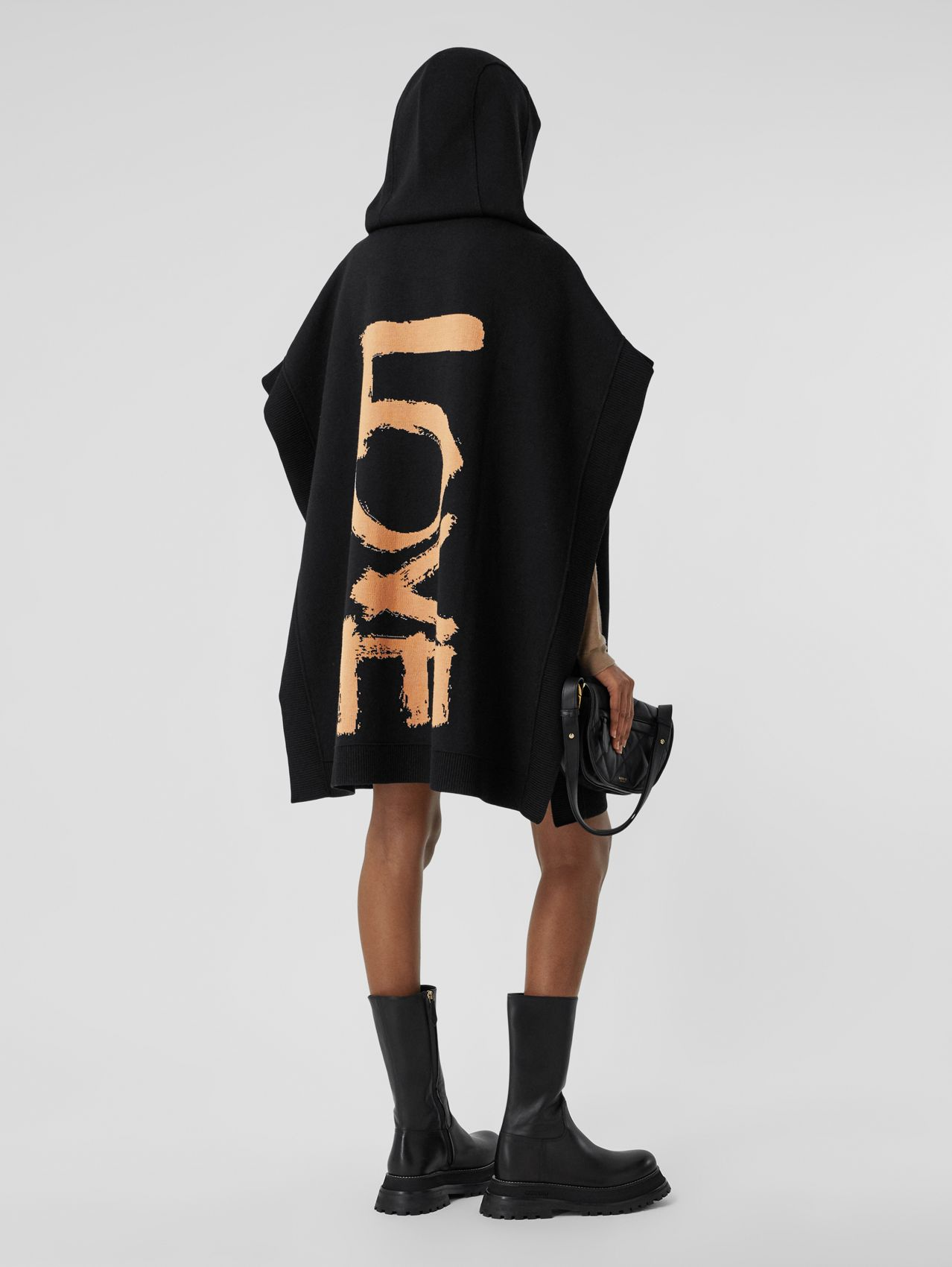 Love Wool Blend Jacquard Hooded Cape in Black