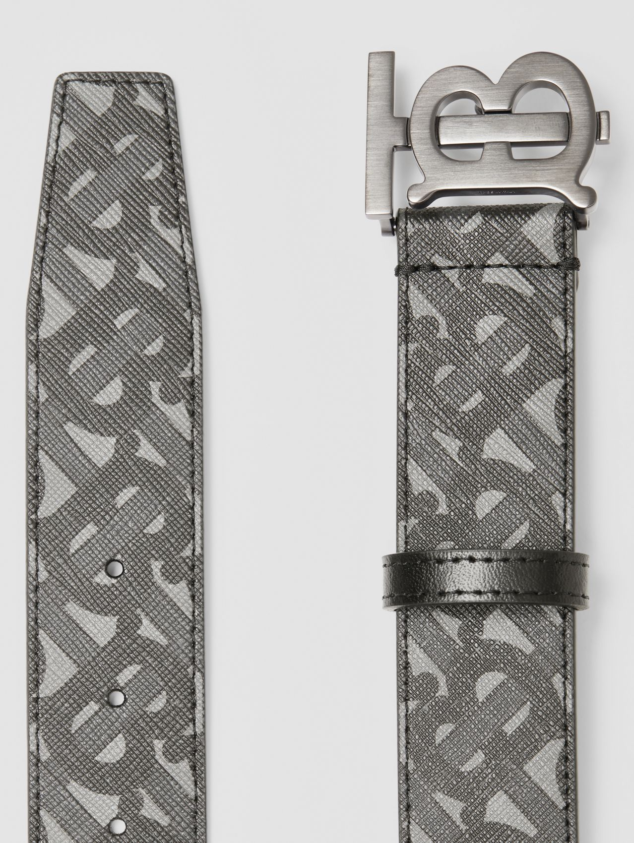 Monogram E-canvas and Leather Belt in Charcoal/black/dark Graphite
