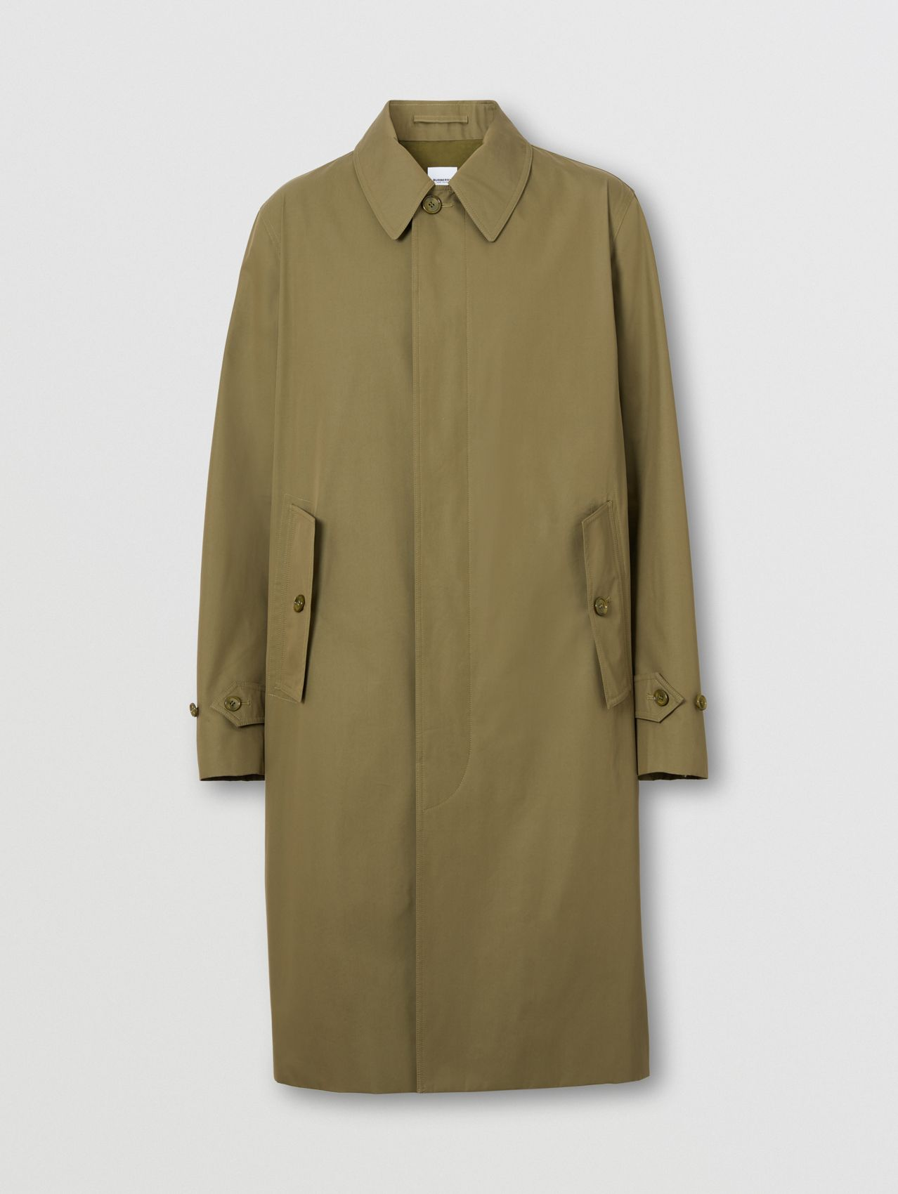 Technical Cotton Gabardine Car Coat in Dark Fern Green