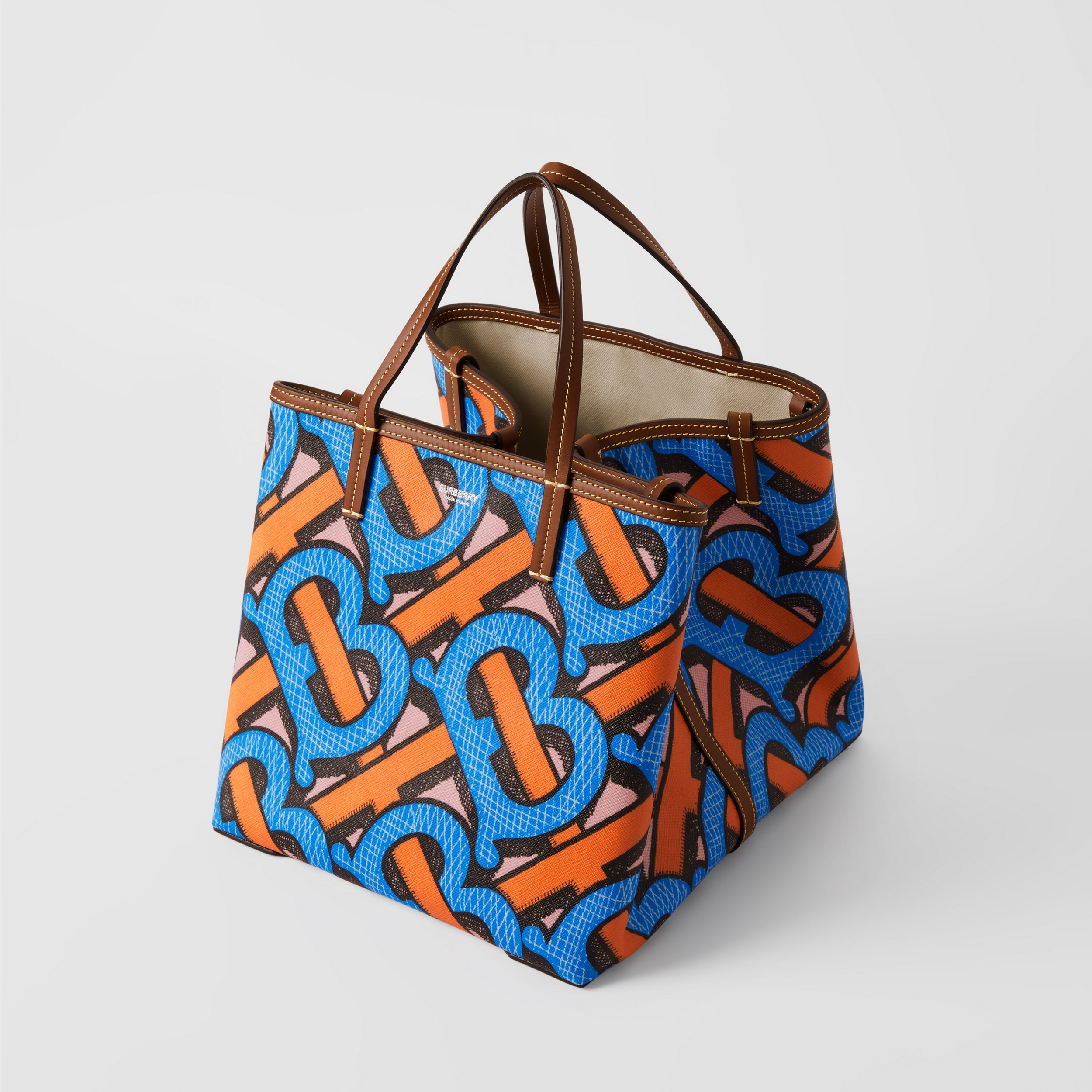 Mini Monogram Print E-canvas Beach Tote in Bright Cobalt | Burberry - 4