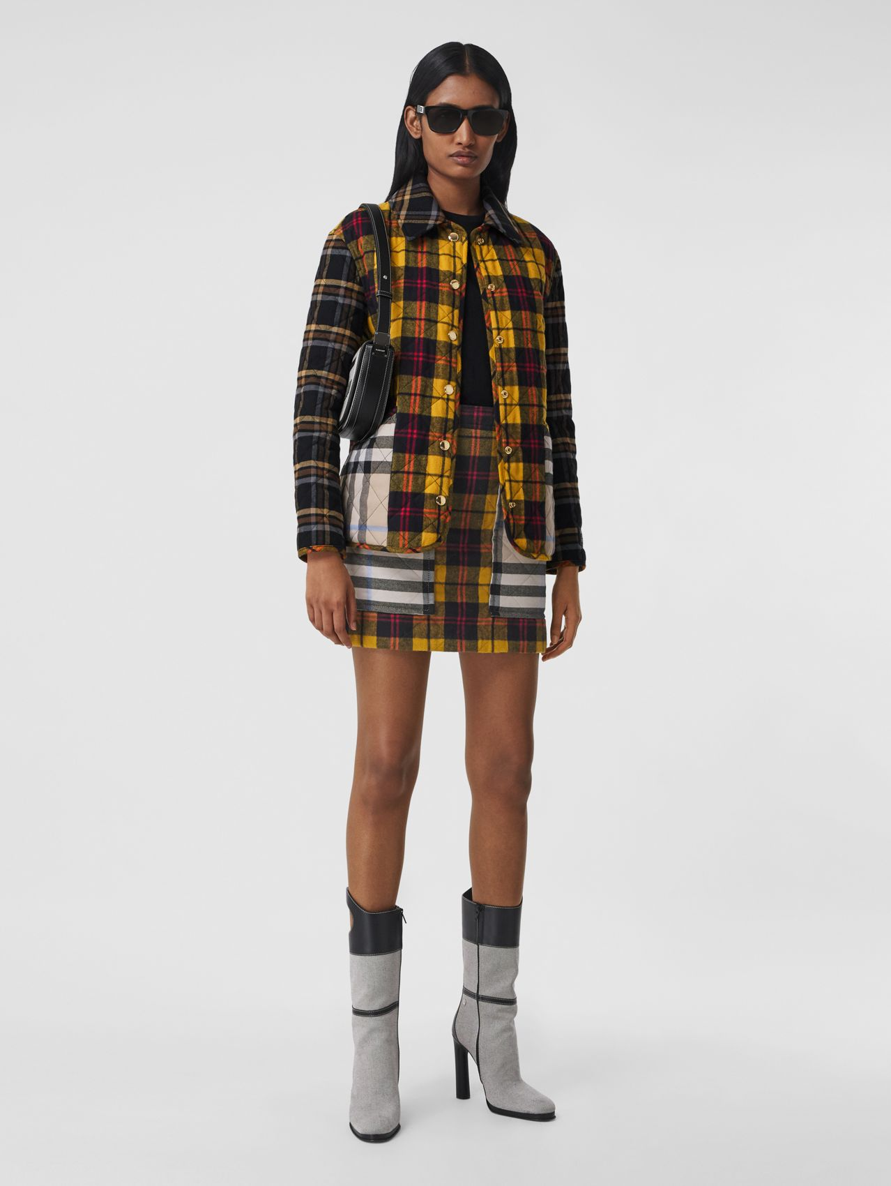 Contrast Check Quilted Cotton Flannel Jacket in Yellow