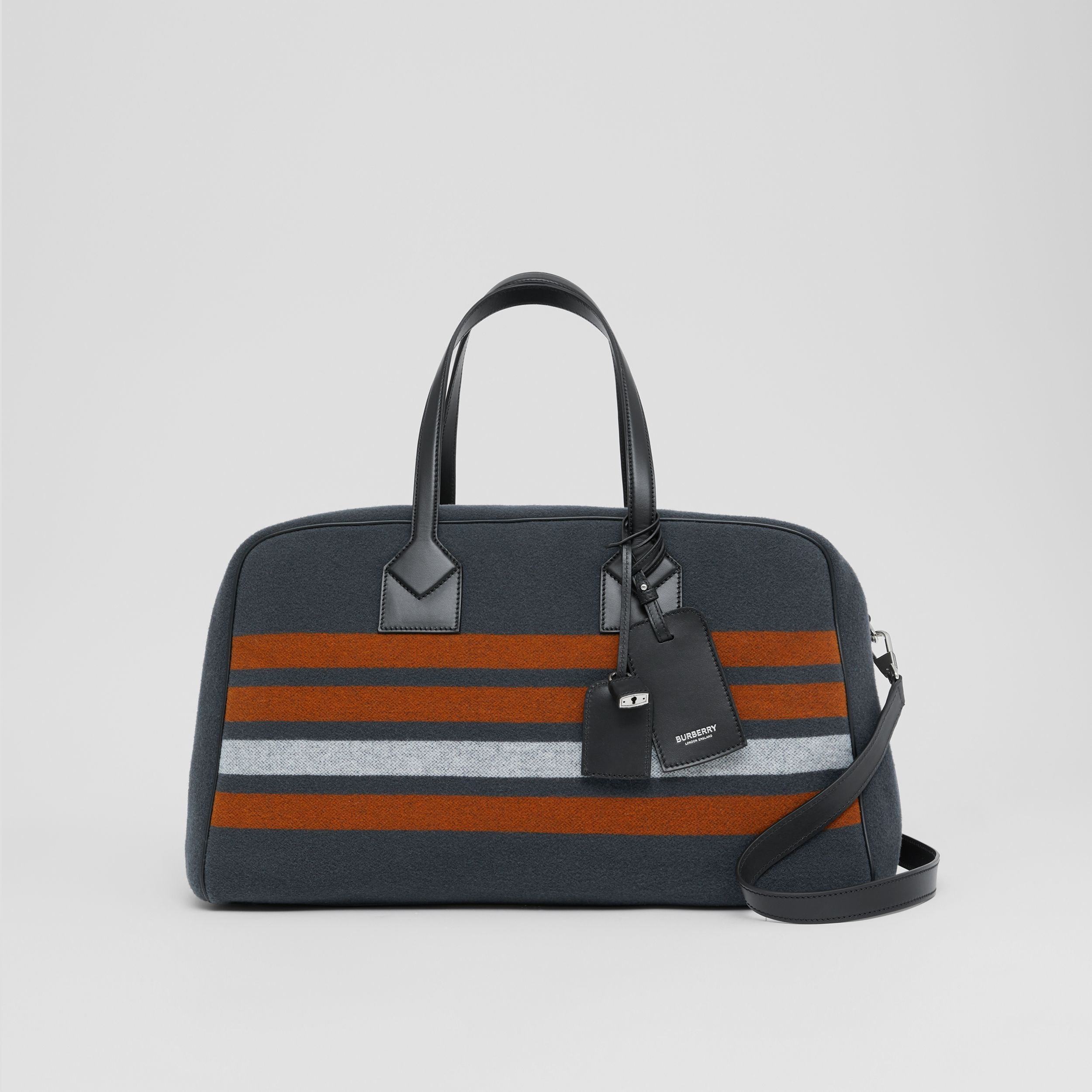 Striped Wool and Leather Cube Holdall in Mid Grey - Men | Burberry - 1