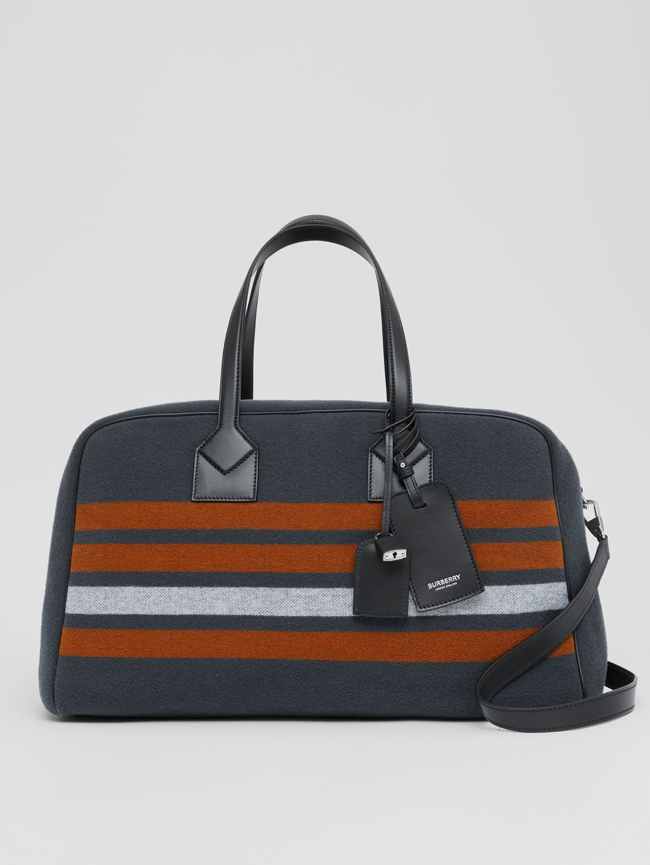 Striped Wool and Leather Cube Holdall in Mid Grey