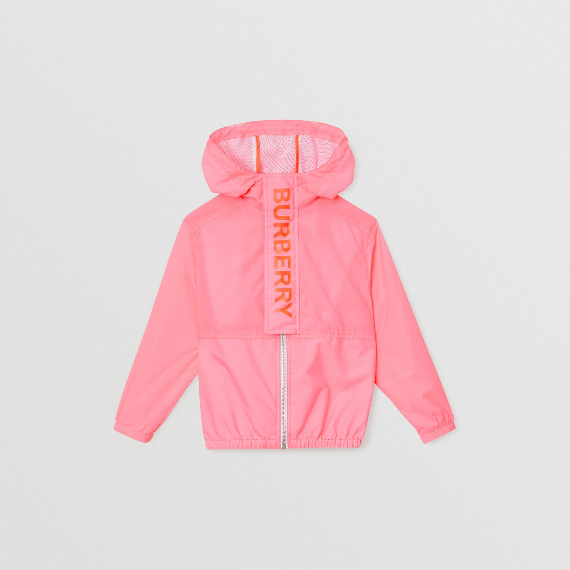 Logo Print Lightweight Hooded Jacket in Bright Rose | Burberry - gallery image 0