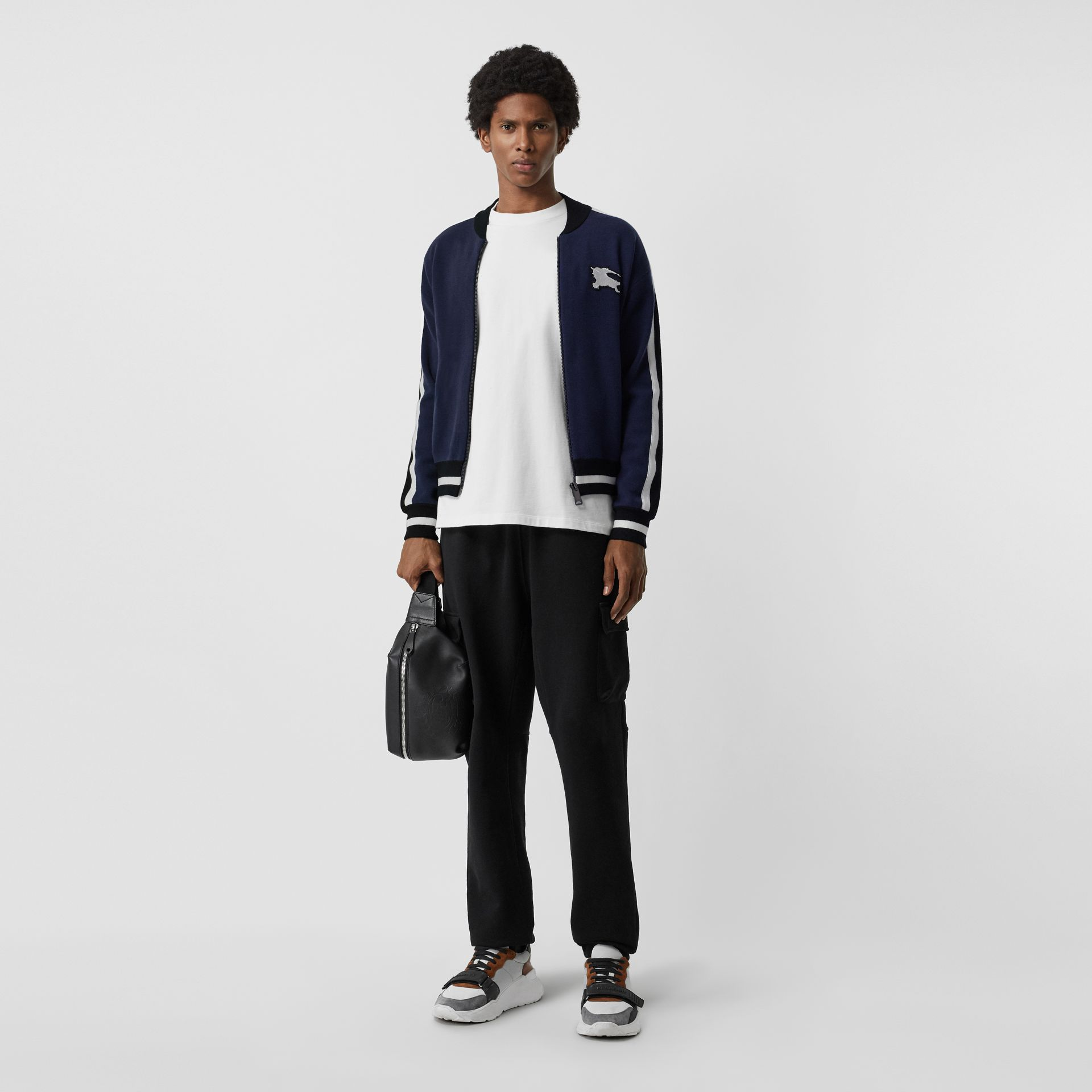 EKD Logo Merino Wool Varsity Jacket in Steel Blue - Men | Burberry - gallery image 0