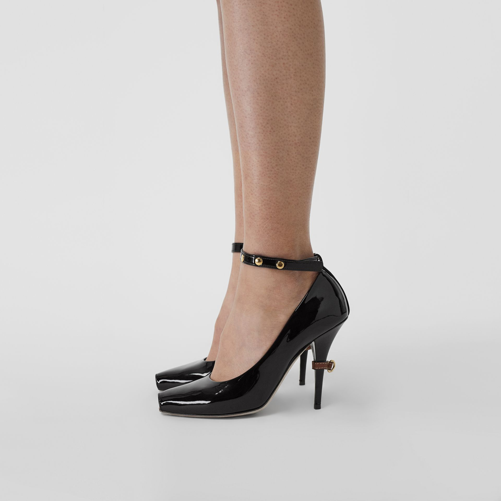 D-ring Detail Patent Leather Peep-toe Pumps in Coffee - Women | Burberry - gallery image 2