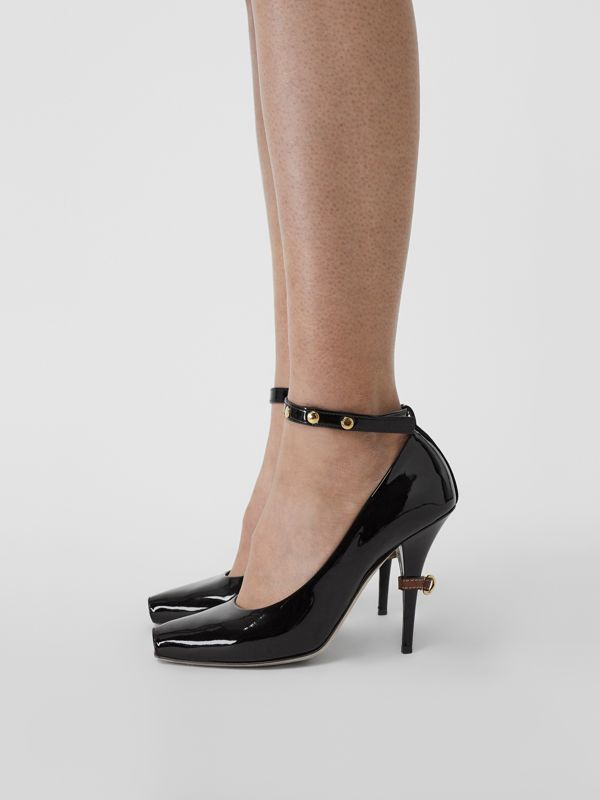 D-ring Detail Patent Leather Peep-toe Pumps in Coffee - Women | Burberry Singapore - cell image 2