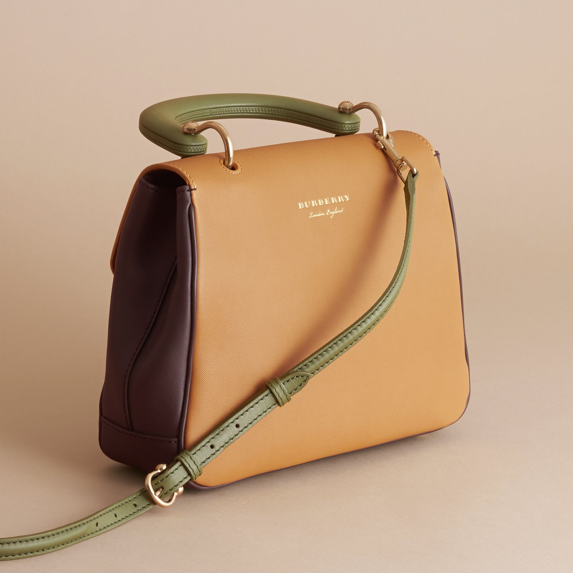 The Medium DK88 Top Handle Bag in Dark Chocolate/ochre Yellow - Women | Burberry - gallery image 3