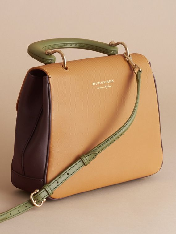 The Medium DK88 Top Handle Bag in Dark Chocolate/ochre Yellow - Women | Burberry - cell image 3