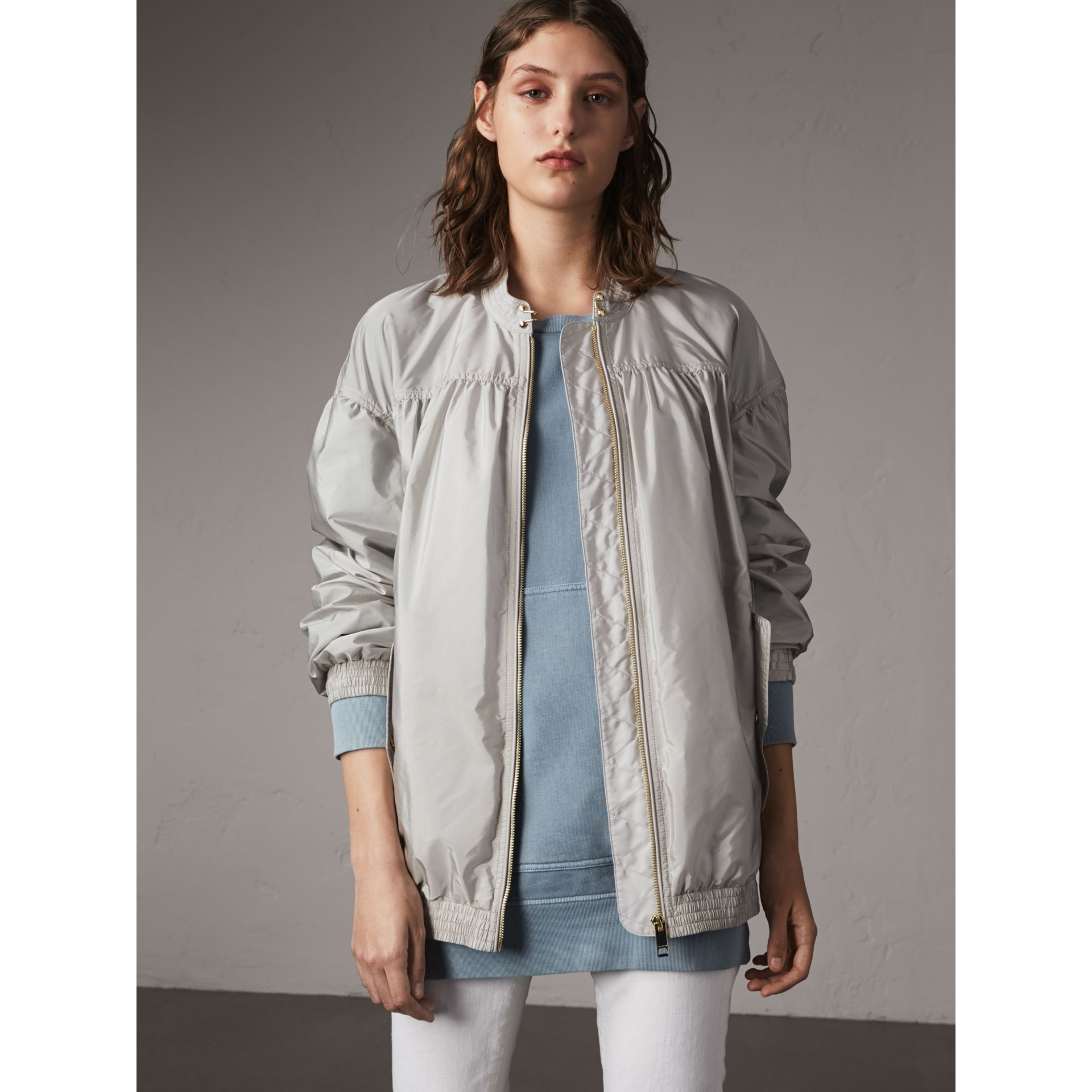 Ruched Showerproof Jacket in Pale Grey - Women | Burberry - gallery image 1