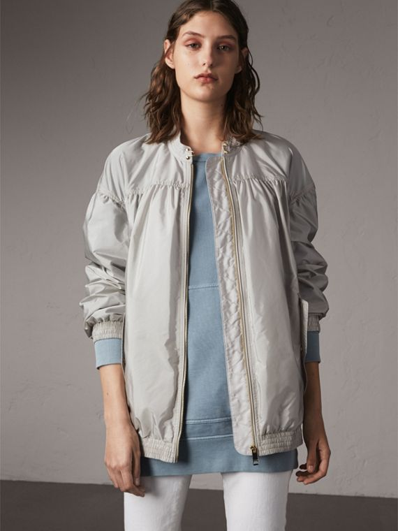 Ruched Showerproof Jacket in Pale Grey - Women | Burberry