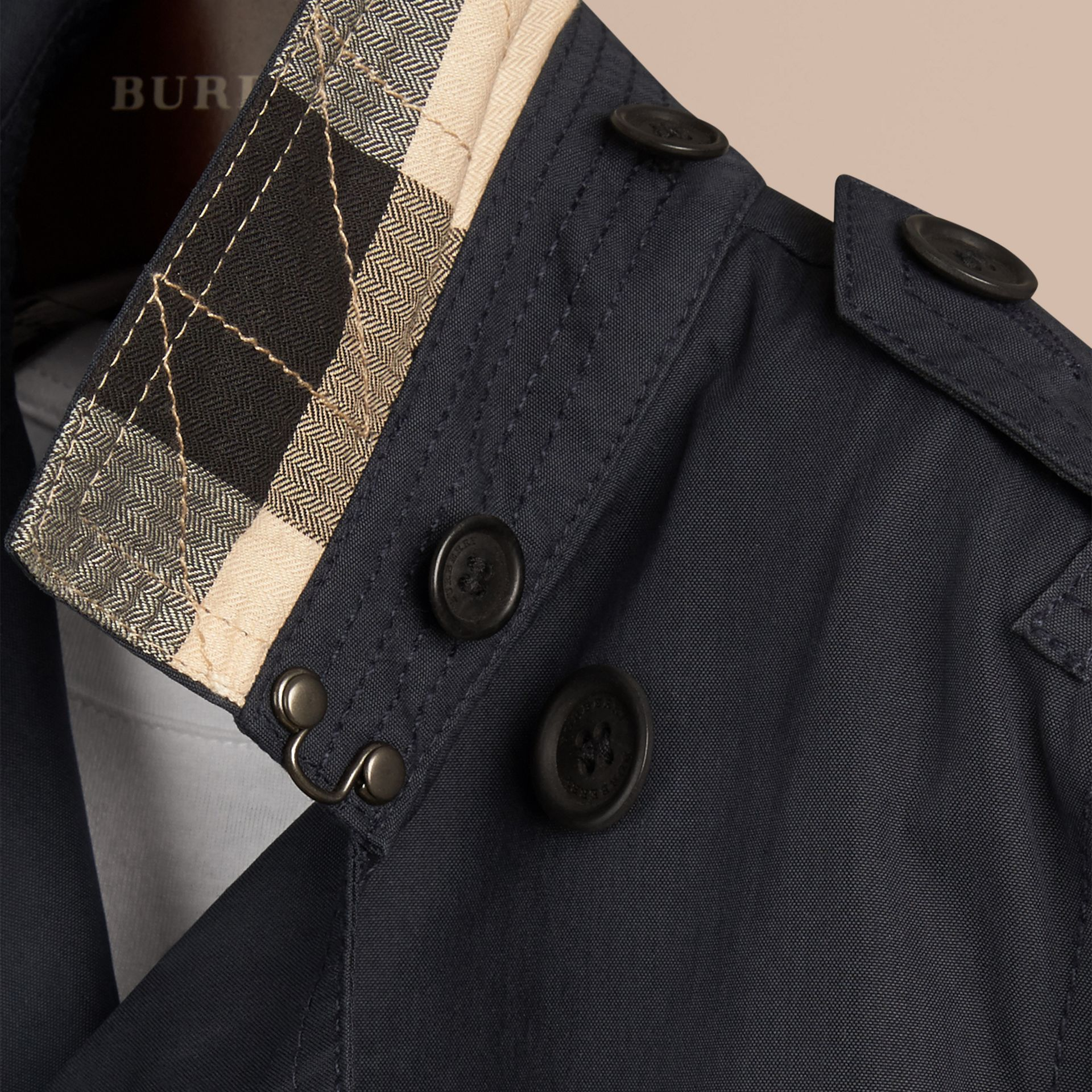 Hooded Cotton Twill Trench Coat in Navy | Burberry Singapore - gallery image 2