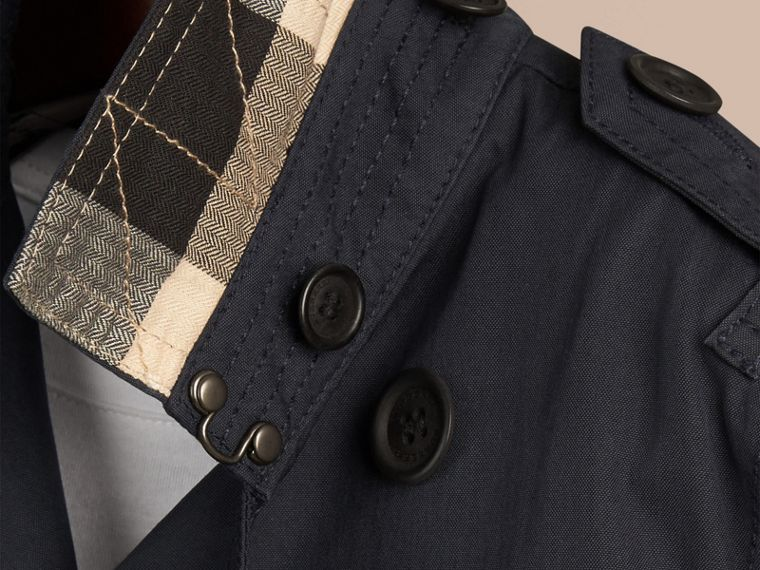 Hooded Cotton Twill Trench Coat in Navy | Burberry - cell image 1