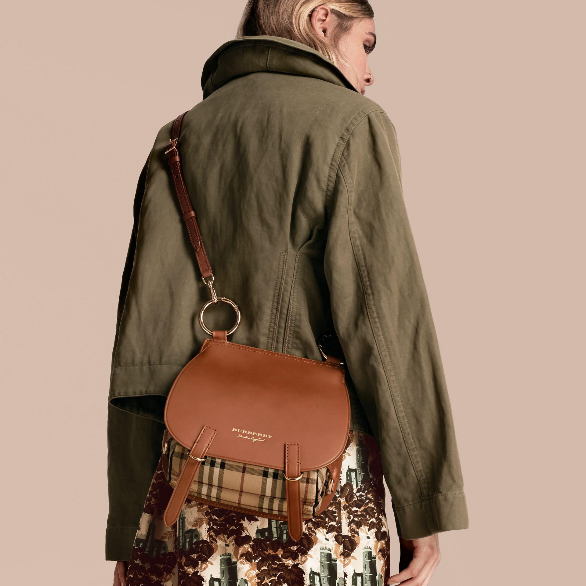 The Bridle Bag in Leather and Haymarket Check - Women | Burberry - gallery image 4