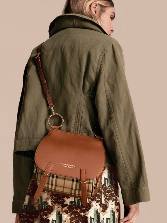 The Bridle Bag in Leather and Haymarket Check - Women | Burberry - cell image 3
