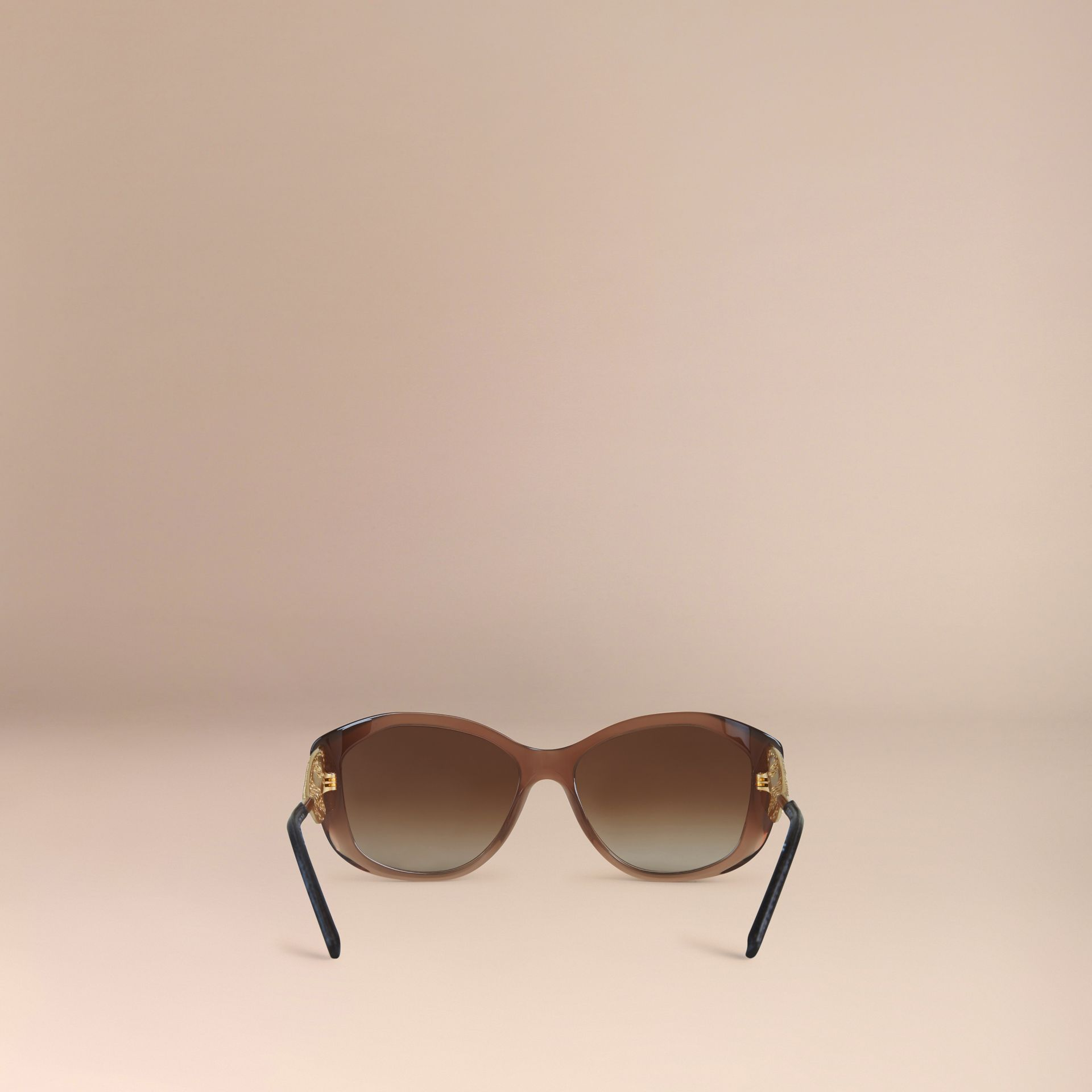Dark amber Gabardine Lace Collection Square Frame Sunglasses Dark Amber - gallery image 3