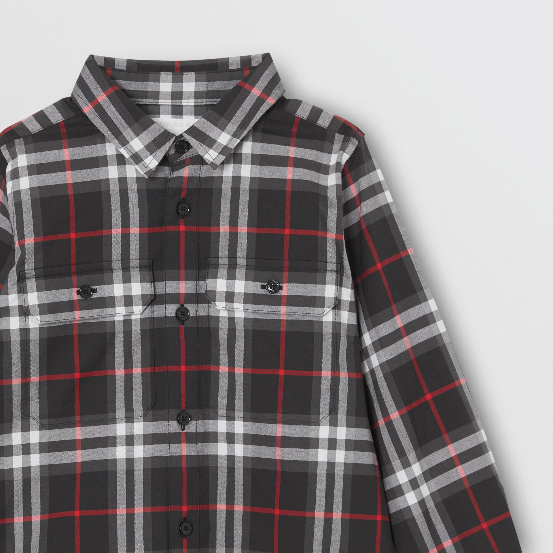 Vintage Check Cotton Shirt in Black | Burberry United Kingdom - gallery image 4