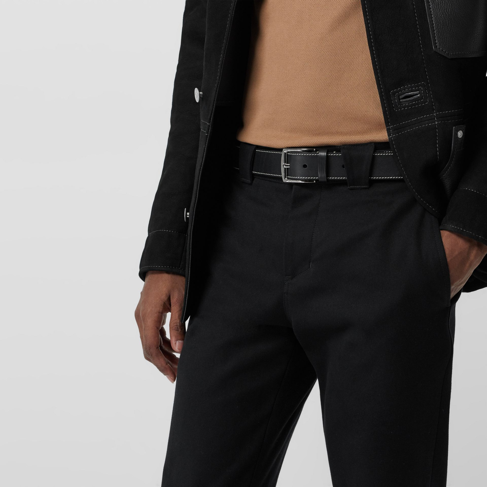Topstitched Leather Belt in Black - Men | Burberry - gallery image 2