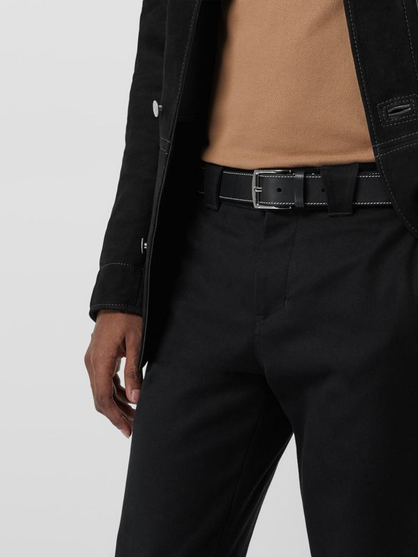 Topstitched Leather Belt in Black - Men | Burberry United Kingdom - cell image 2