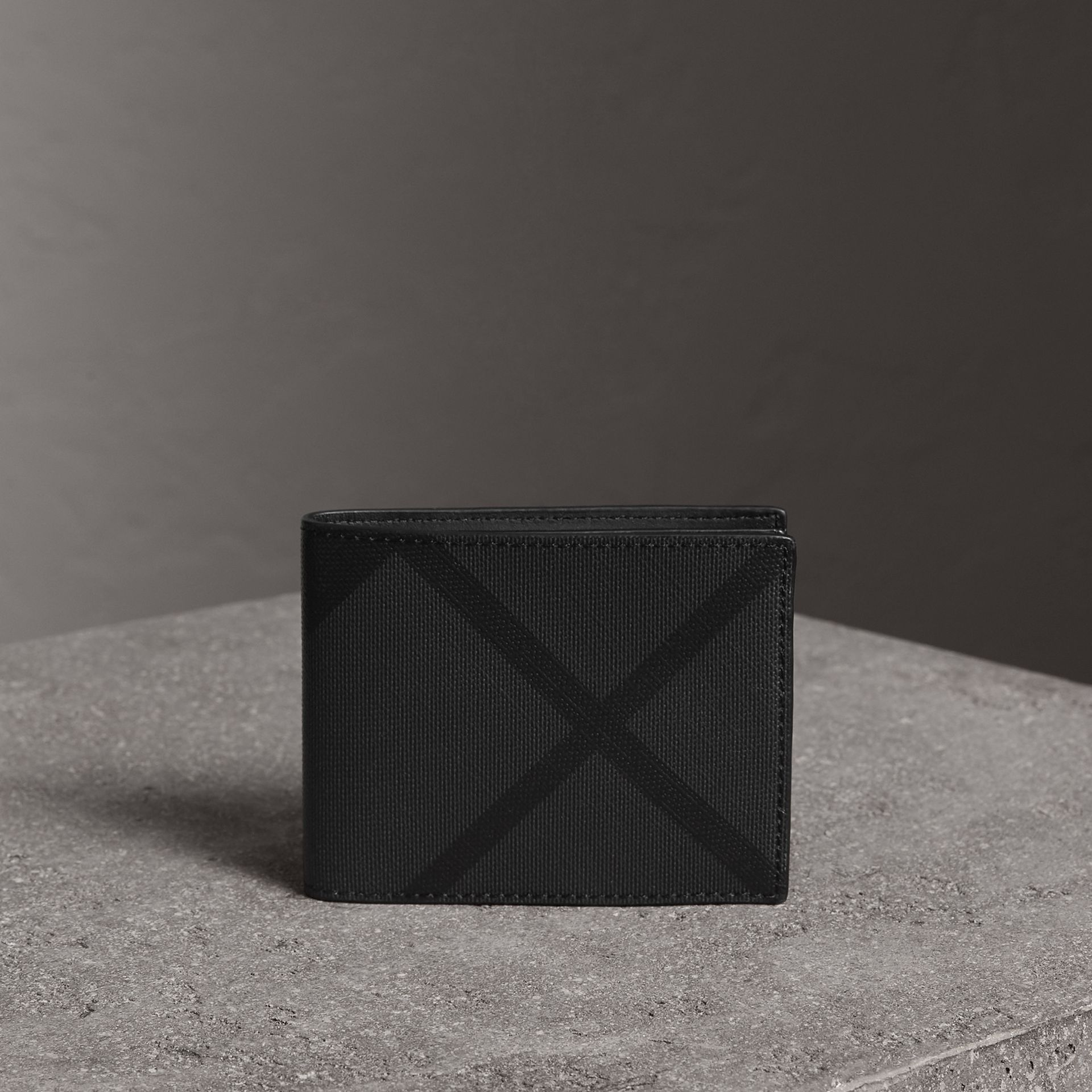 London Check Bifold Wallet in Charcoal/black - Men | Burberry Singapore - gallery image 0