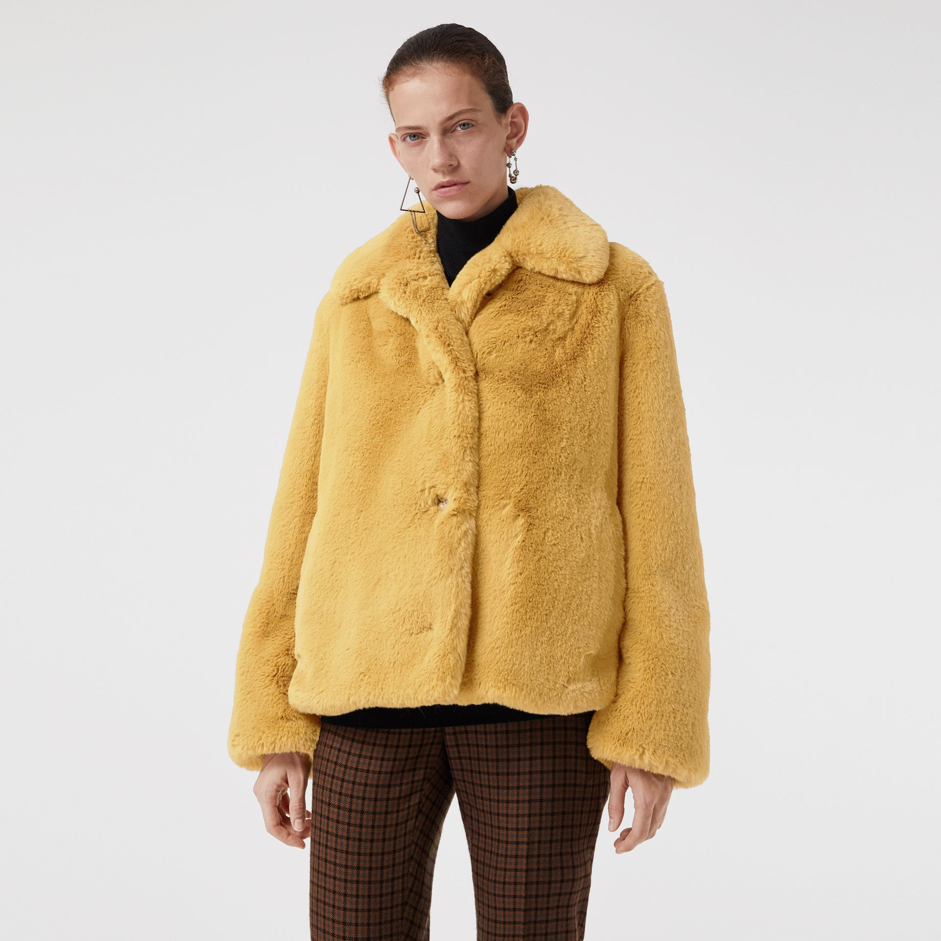 Faux Fur Single-Breasted Jacket in Ochre Yellow - Women | Burberry Australia - gallery image 5