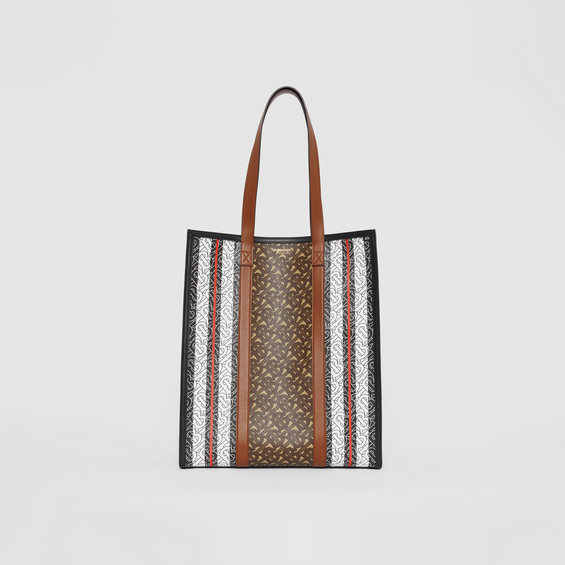 Monogram Stripe E-canvas Portrait Tote Bag in Bridle Brown | Burberry - gallery image 0