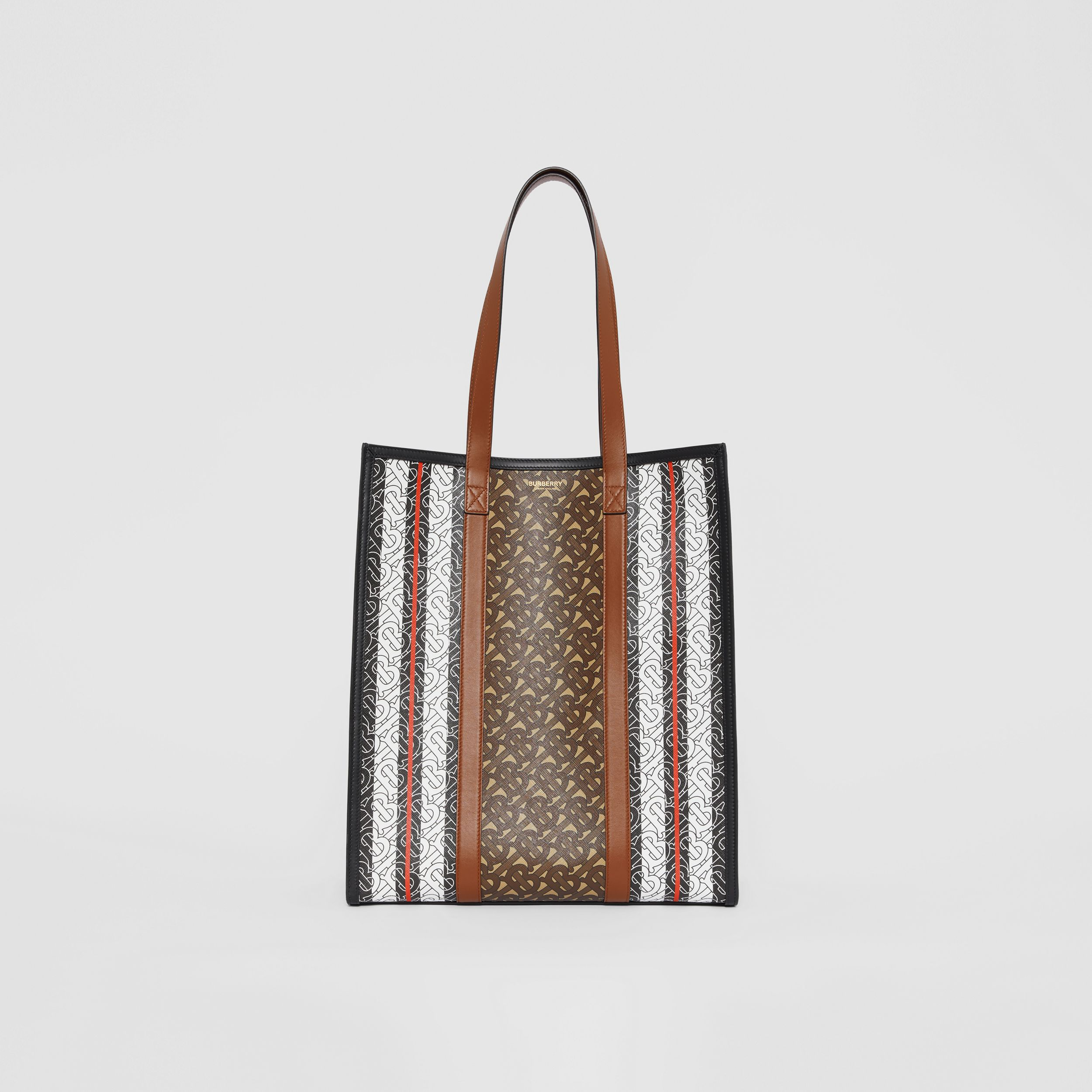 Monogram Stripe E-canvas Portrait Tote Bag in Bridle Brown | Burberry - 1