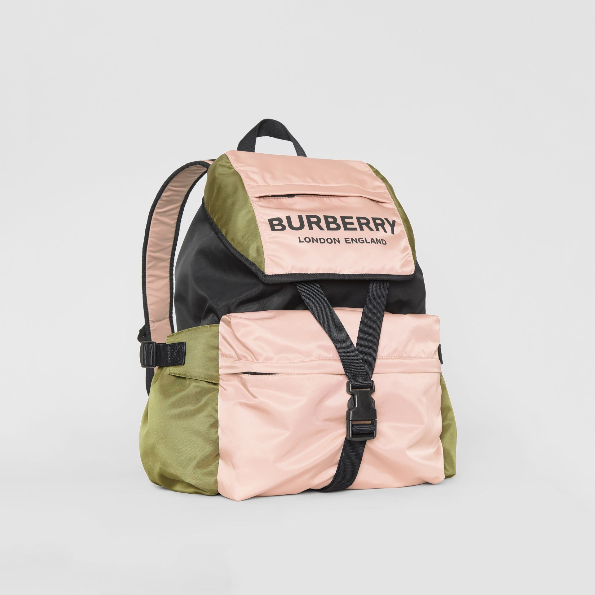 Logo Print Tri-Tone Nylon Backpack in Rose Beige - Women | Burberry Hong Kong - gallery image 4