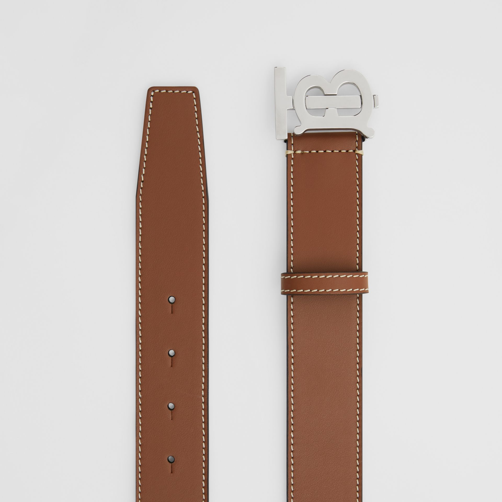 Monogram Motif Topstitched Leather Belt in Tan - Men | Burberry - gallery image 5