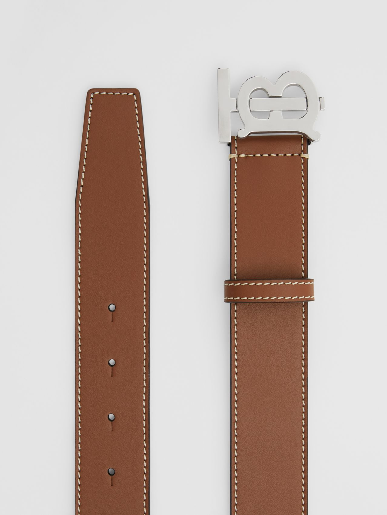 Monogram Motif Topstitched Leather Belt in Tan