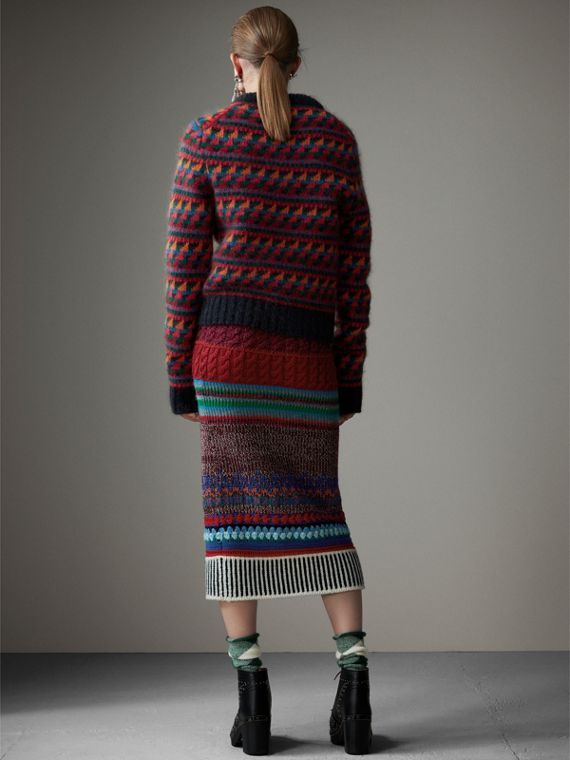Hand-crocheted Detail Cashmere Wool Blend Skirt in Multicolour - Women | Burberry - cell image 2