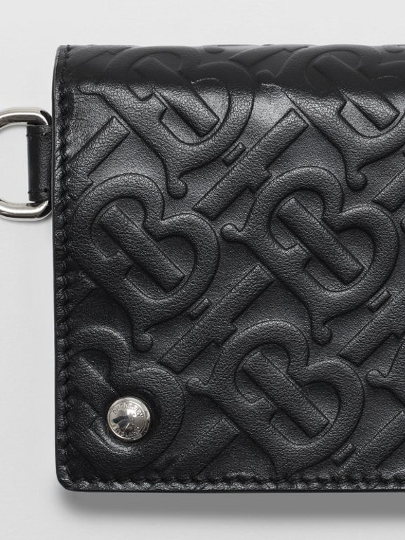 Monogram Embossed Leather Trifold Wallet in Black - Men | Burberry Australia - cell image 1