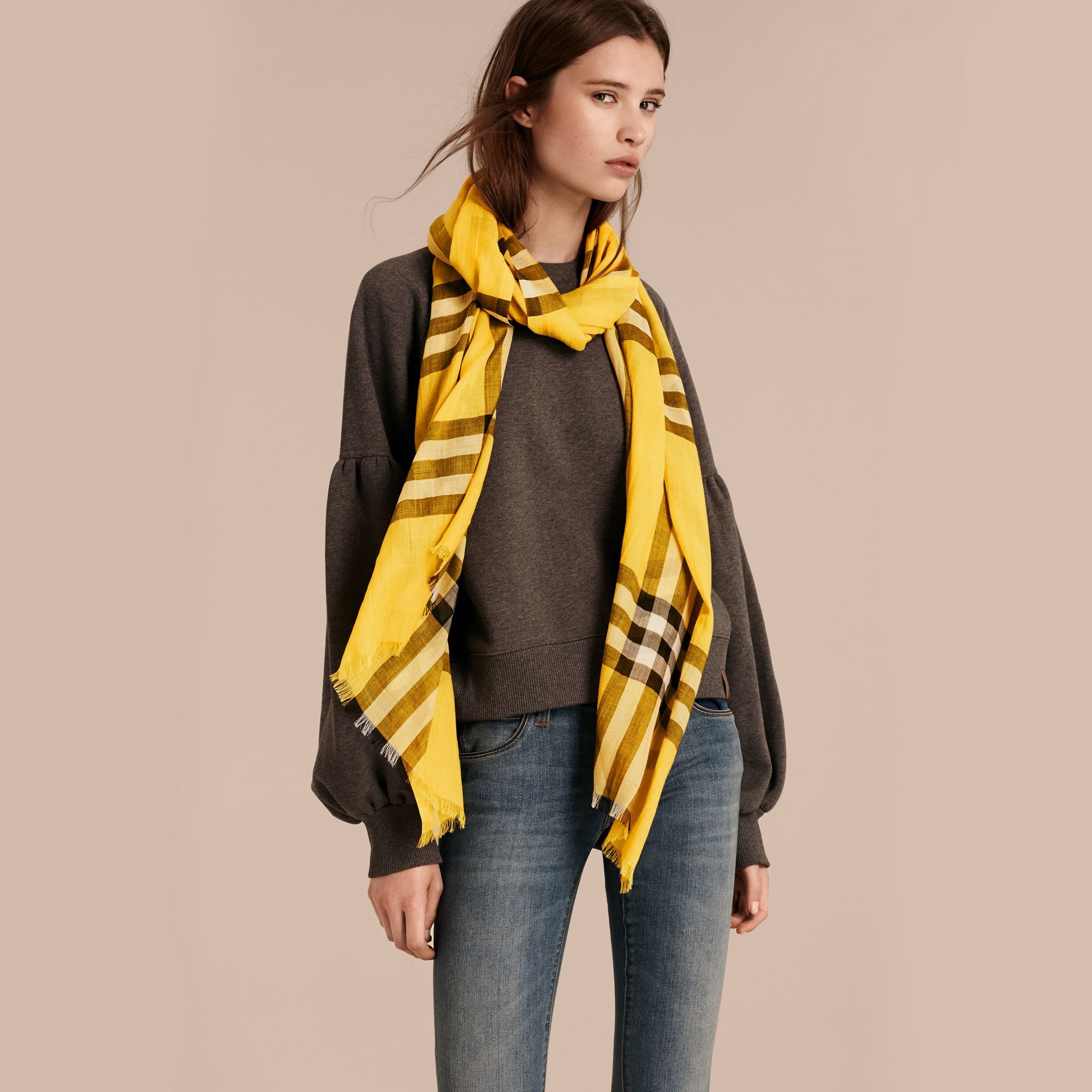 Lightweight Check Wool and Silk Scarf in Gorse Yellow - gallery image 2
